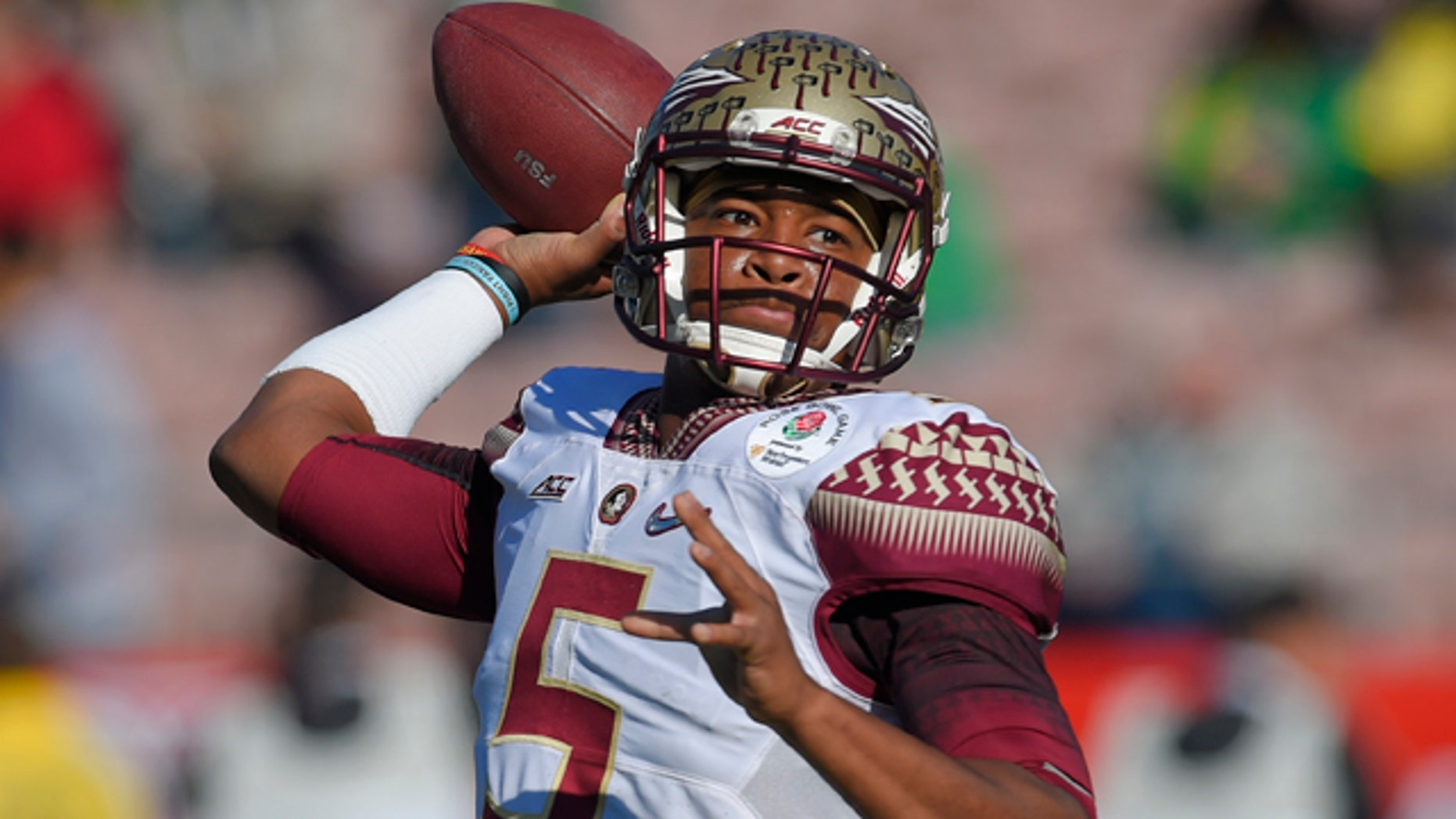 Jan. 1, 2015: Florida State quarterback Jameis Winston passes against Oregon during the first half of the Rose Bowl NCAA college football playoff semifinal, in Pasadena, Calif. (AP Photo/Mark J. Terrill, File)