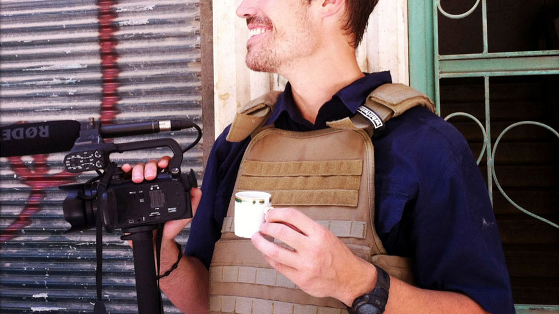 This file photo posted on the website freejamesfoley.org shows journalist James Foley in Aleppo, Syria, in July, 2012.