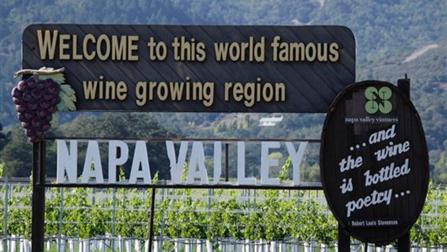 Oct. 27, 2011: A sign along Highway 29 welcomes visitors to the Napa Valley in Oakville, Calif.