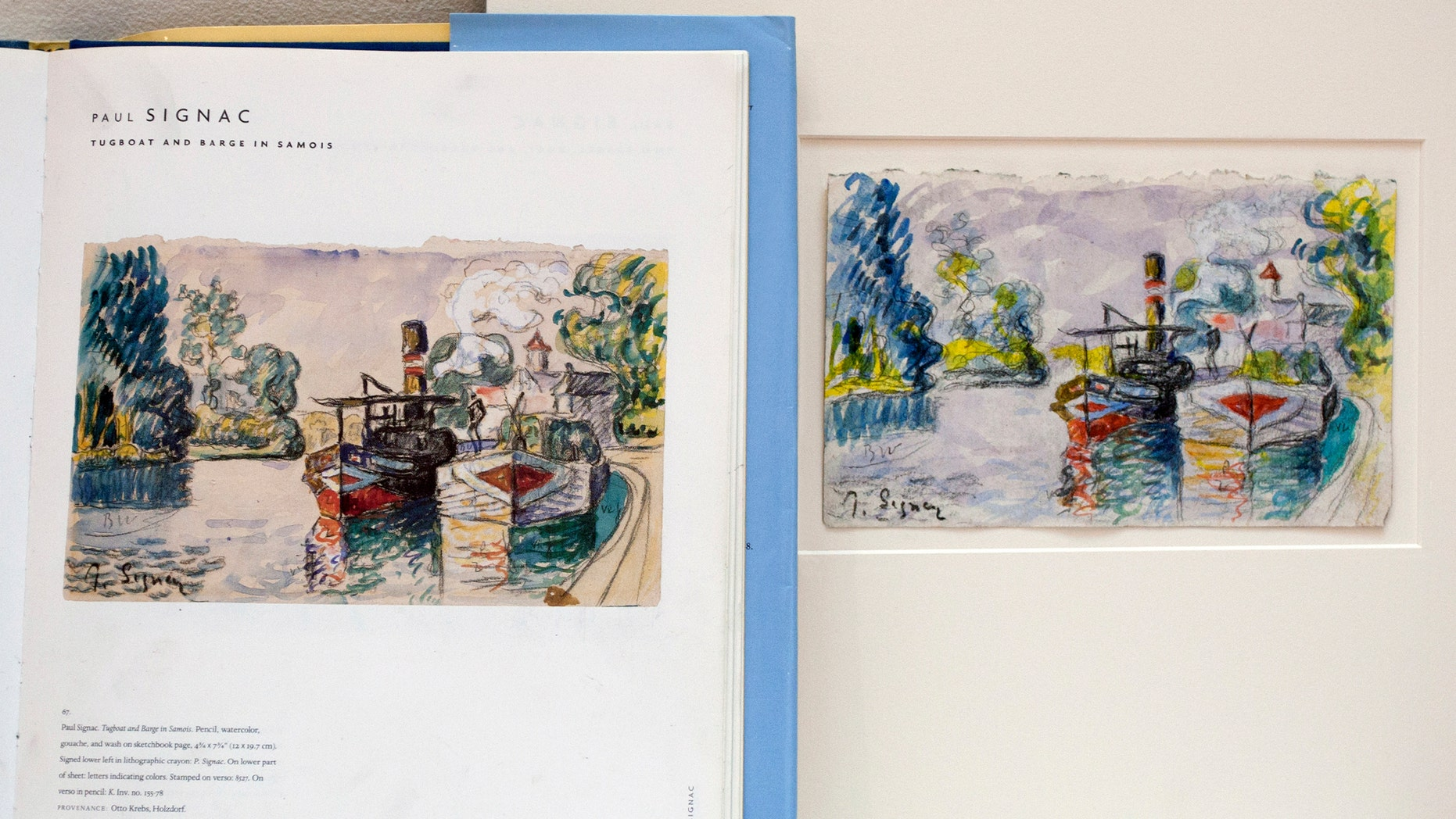 A print in a book shows a work by  French painter Paul Signac, left, and the forged version and painted by art forger Mark A. Landis, of Laurel, Miss., right,  at the University of Cincinnati in Cincinnati, Ohio on Tuesday, March 27, 2012.
