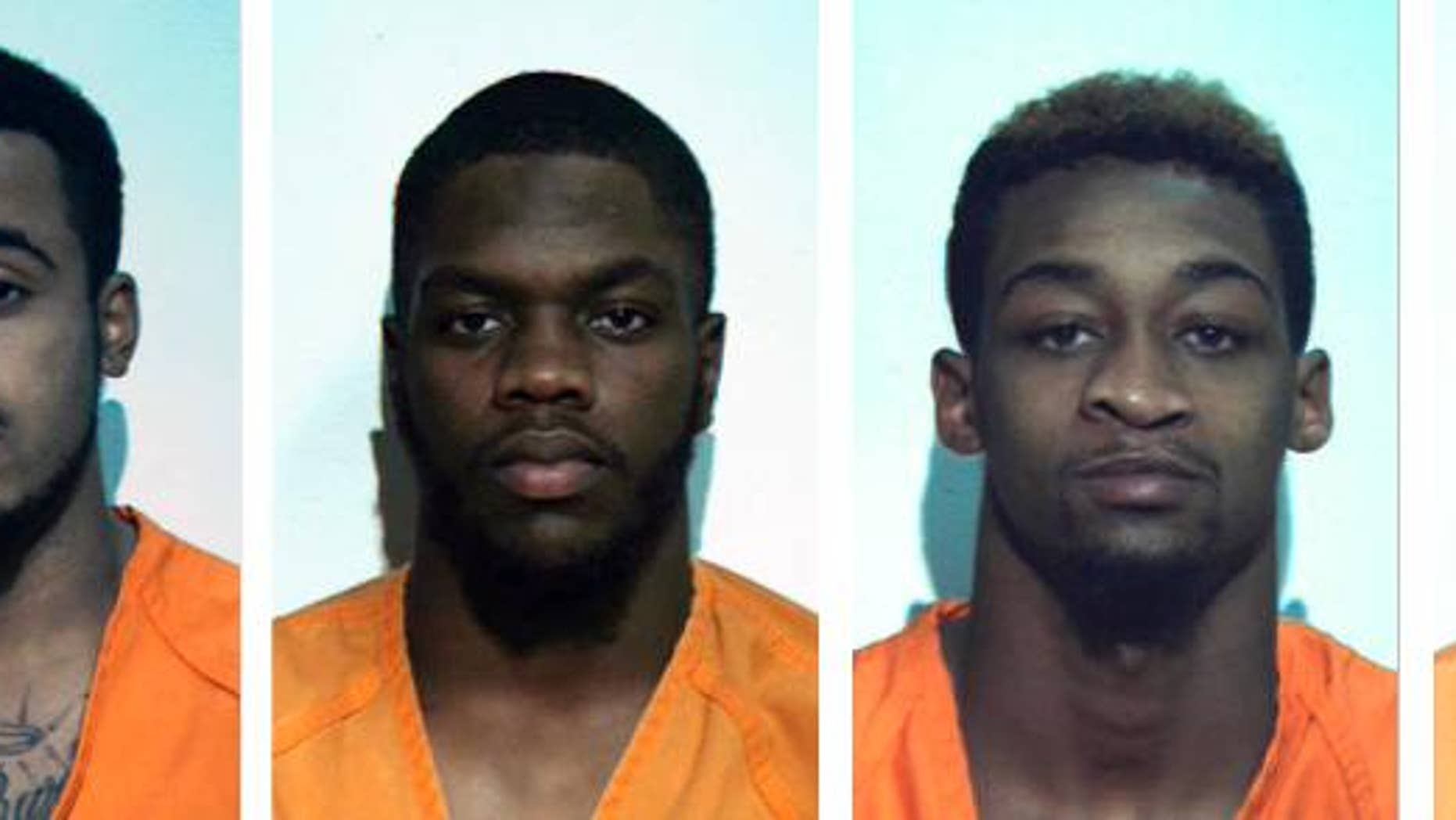 """These undated photos provided by the Washington County, Pa. correctional facilty show, from left, Jonathan Barlow, D'Andre Dunkley, Corey Ford, Rodney Gillin Jr. and James Williamson. The five football players from the California University of Pennsylvania, in California, Pa.,  were arrrested and suspended from the school after police say they beat and stomped a man outside an off-campus restaurant, then fled yelling """"Football strong!"""" The victim was in intensive care Friday, Oct. 31, 2014, with severe brain trauma. (AP Photo/Washington County, Pa. Correctional Facility)"""