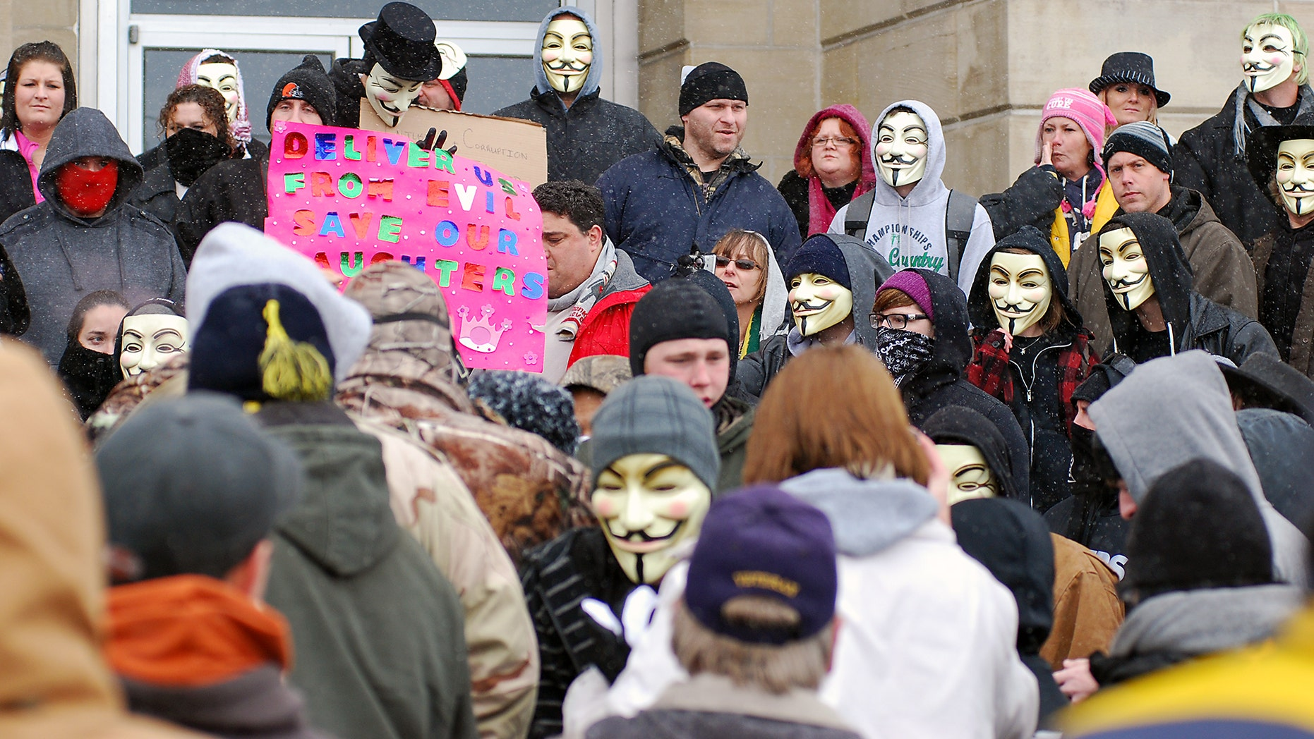 """Dec. 29, 2012: Members of the group """"Anonymous"""" said they are outraged over what they contend is a cover-up in a case involving the alleged rape of a teenage girl by Steubenville High School student-athletes that reportedly occurred in 2012."""