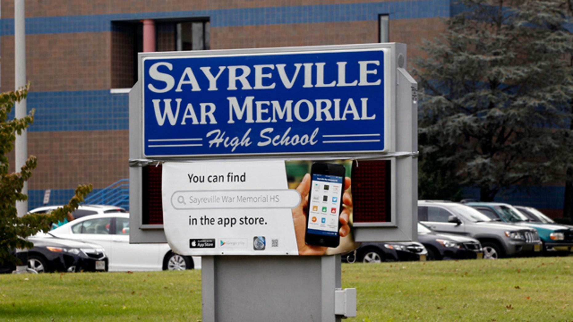 October 7, 2014: The entrance to Sayreville War Memorial High School is shown. (AP Photo/Mel Evans)
