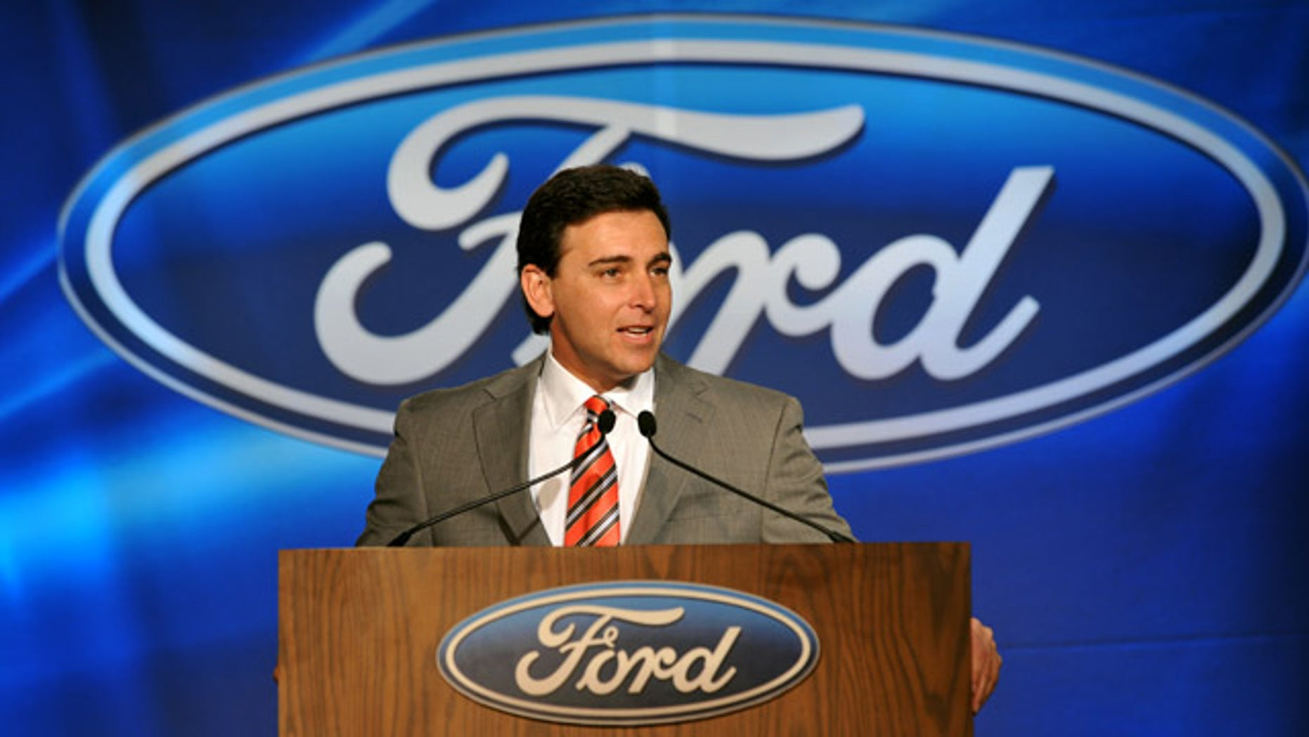 Mark Fields, President of the Americas, announces the details of the upcoming transformation of the Louisville Assembly Plant Thursday, Dec. 9, 2010, to produce the next generation Ford Escape. The event, at the plant in Louisville, Ky., was attended by government and UAW officials, and hundreds of plant employees. (AP Photo/Ford Motor Co., Sam VarnHagen)