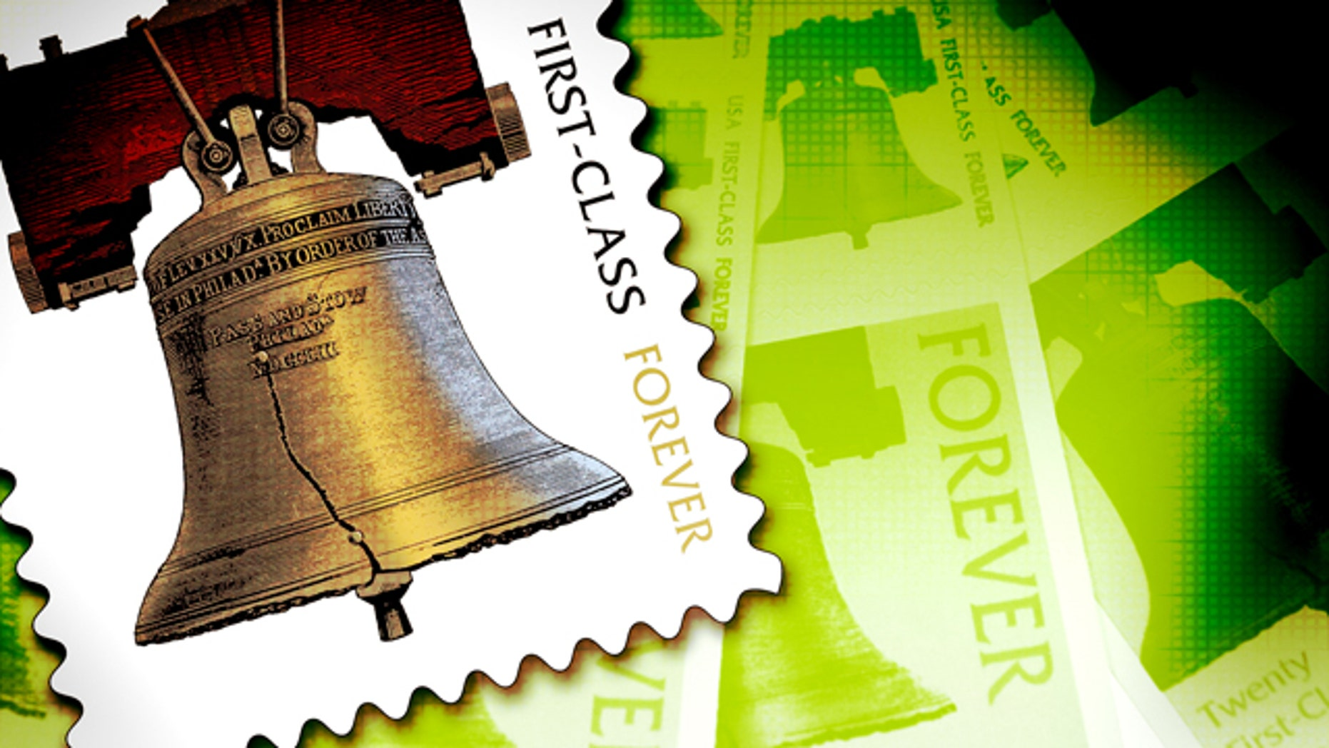 A United States Postal Service employee displays Forever stamps at the main post office, Thursday