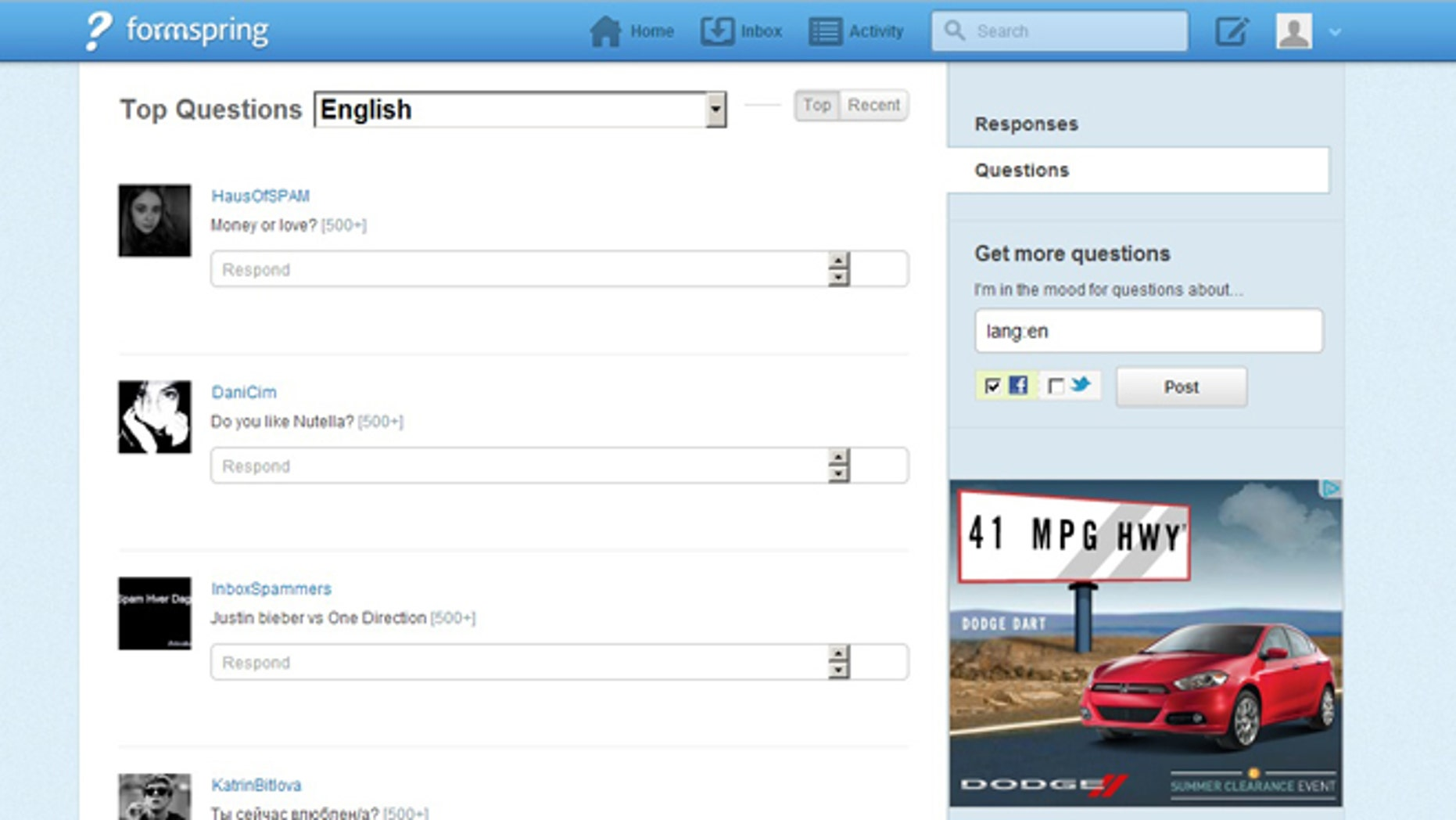 "A screen shot of social networking site Formspring, which pioneered the ""Ask Me Anything"" format of question and answers."