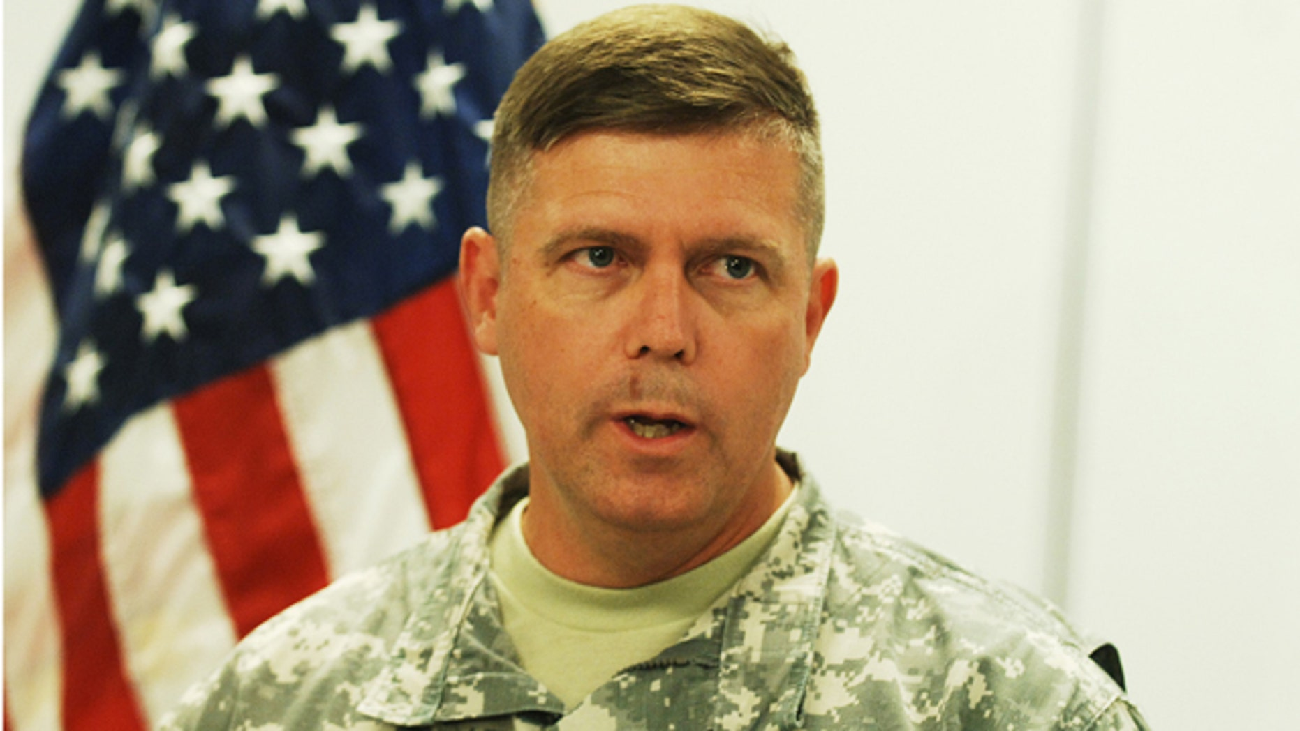 June 15: Col. Glenn Kennedy, Garrison Commander at Fort Gordon, speaks to the media during a press conference. (AP)