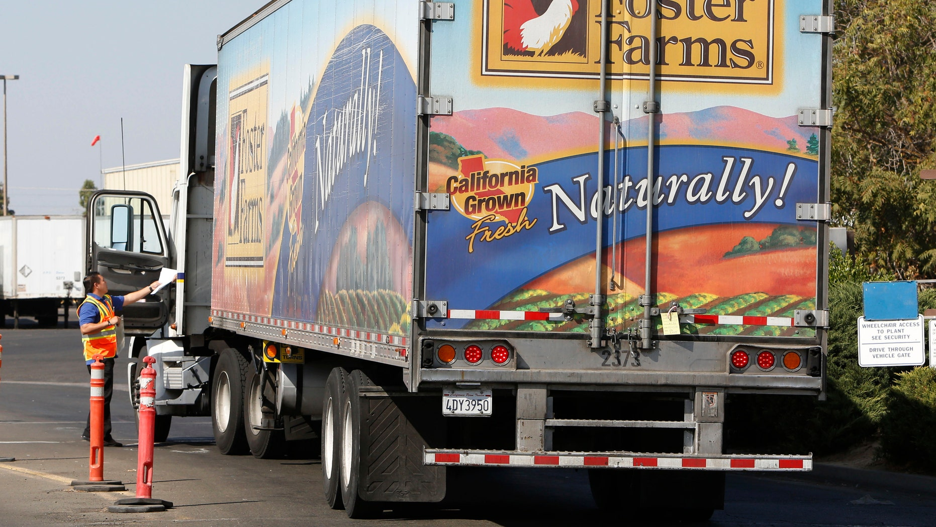 A truck enters the Foster Farms processing plant on Thursday, Oct. 10, 2013, in Livingston, Calif. (AP Photo/Rich Pedroncelli)