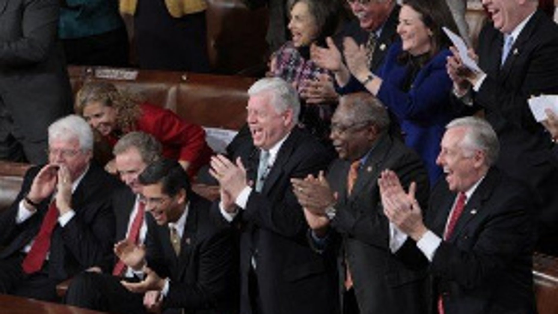 Democrats applaud during President Obama's first State of the Union address. (AP Photo)