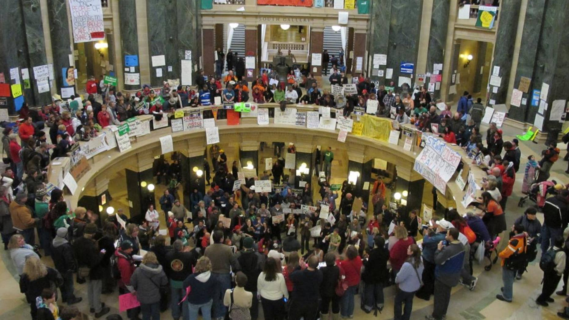 Protests inside the Wisconsin State Capitol in Madison.  (Fox News Photo)