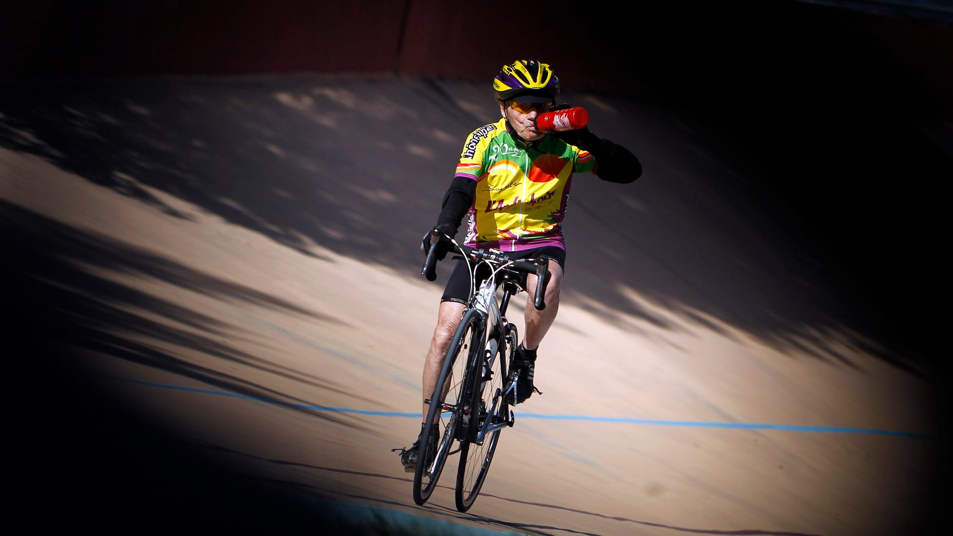 Sept. 28, 2012 - French centenarian Robert Marchand as he attempts to establish a record for the fastest 100-year-old to cover 100km (62 miles,) at the outdoor  Velodrome track of Lyon, central France.