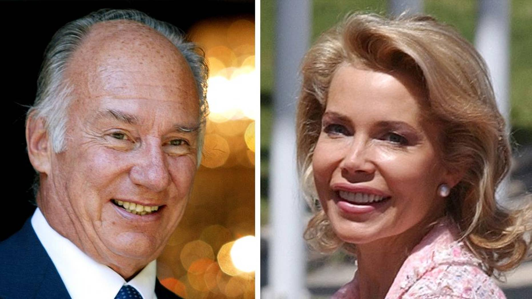 """FILE - In this photo combo are seen the Aga Khan, imam of the Ismaili Muslim community, on Sept. 6, 2004 in Berlin and his then wife Begum Inaara Aga Khan on May, 20,2004 in Madrid. Lawyers for the Aga Khan and his ex-wife Princess Gabriele Renate Inaara Zu Leiningen released a statement Friday March 14, 2014 saying their marriage """"ends by consent"""" after the Paris Court of Appeals approved a divorce settlement. The lawyers would not provide any further detail, saying terms of the settlement are confidential. The two married in 1998, and started divorce proceedings several years later after having a son. (AP Photo/Jan Bauer, Paul White, File)"""