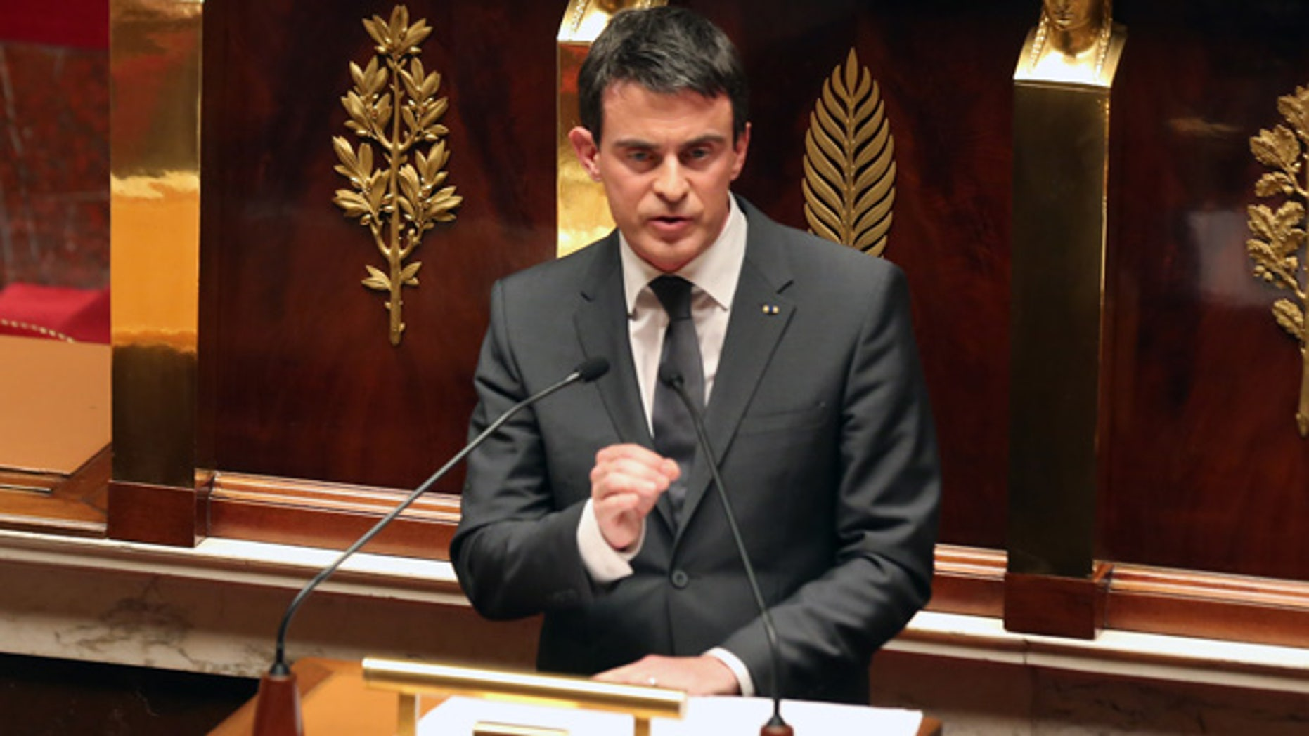 Jan. 13, 2015: French prime minister Manuel Valls delivers his speech during a homage to the 17 victims of last week's terrorist attacks in Paris. (AP Photo/Remy de la Mauviniere)