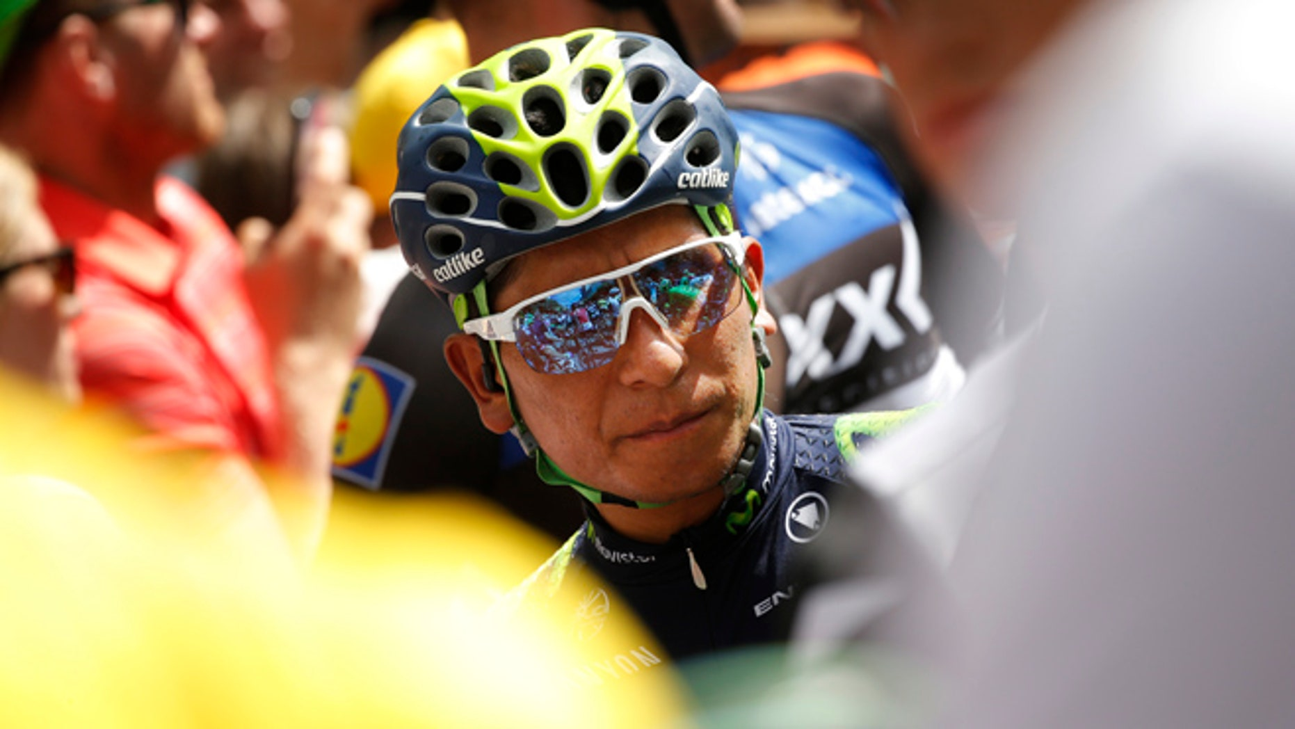 Colombiaâs Nairo Quintana waits for the start of the fifth stage of the Tour de France cycling race over 216 kilometers (134.2 miles) with start in Limoges and finish in Le Lioran, France, Wednesday, July 6, 2016. (AP Photo/Christophe Ena)