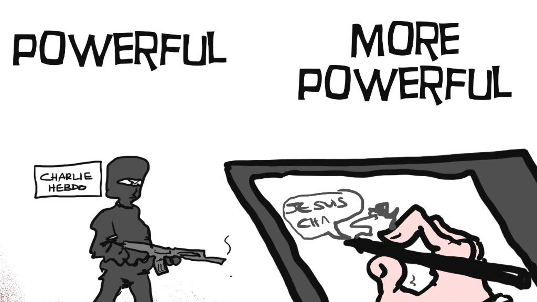A cartoon tribute drawn by MacLeod was released in solidarity with those killed in an attack at the Paris offices of the weekly newspaper Charlie Hebdo after masked gunmen stormed their offices on Wednesday, Jan. 7, 2015. As if to prove that pens are mightier than swords, cartoonists around the world reacted to the cold-bloodied assassination of their colleagues at French satirical magazine Charlie Hebdo as only they can: with powerful drawings worth a thousand words. Defiant, angry, poignant, irreverent and sobering, their drawings united cartoonists in grief, tried to make sense of the nonsensical, and sent a shared message: We must not, will not and should not be silenced. Some drawings made one want to both laugh and cry. (AP Photo/MacLeod Cartoons)