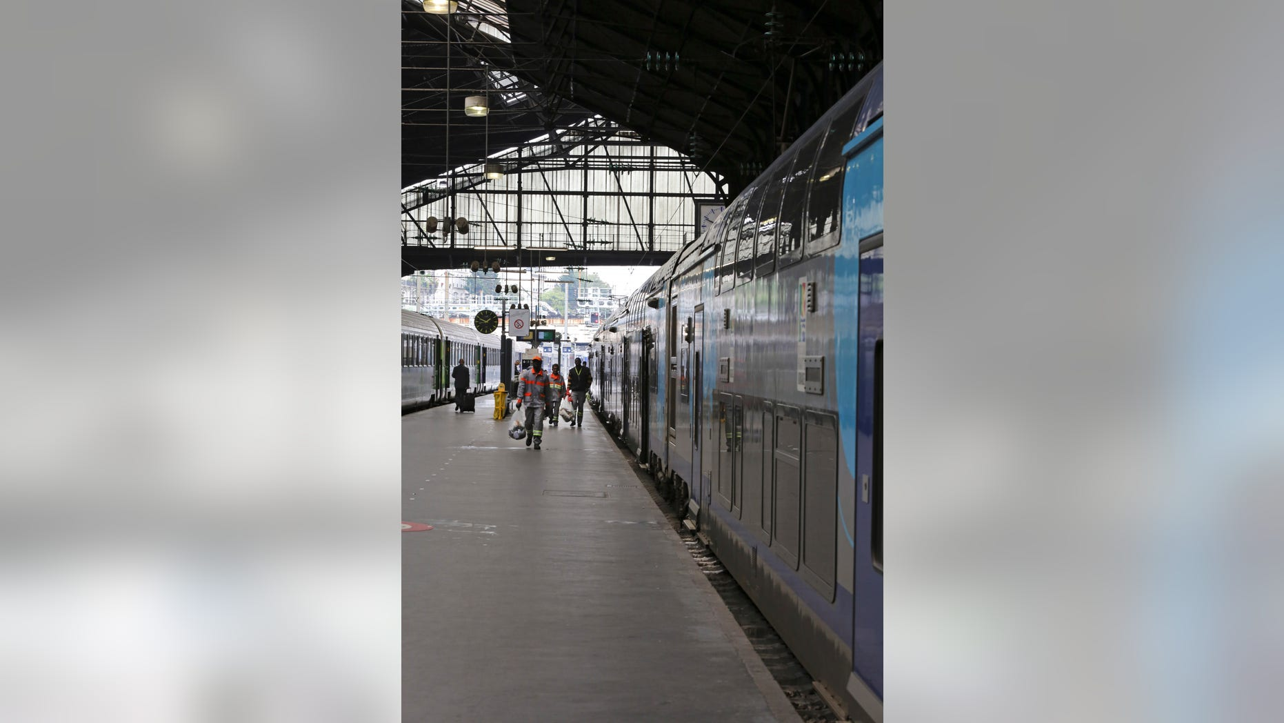 May 21, 2014: A Regional Express Train, or TER, is sationed along a platform at the Saint Lazare station in Paris.