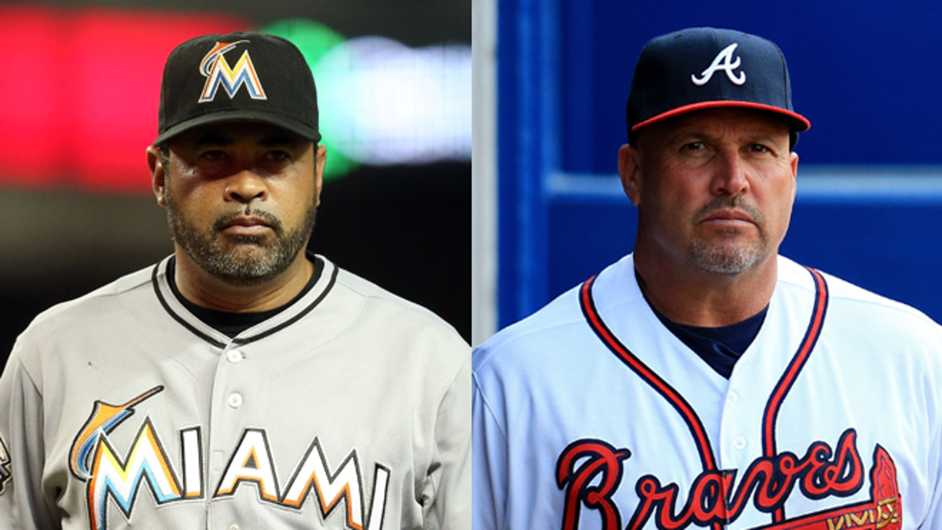 Manager Ozzie Guillen (left) of the Miami Marlins and Manager Fredi Gonzalez (right) of the Atlanta Braves. (Photos by Getty Images)