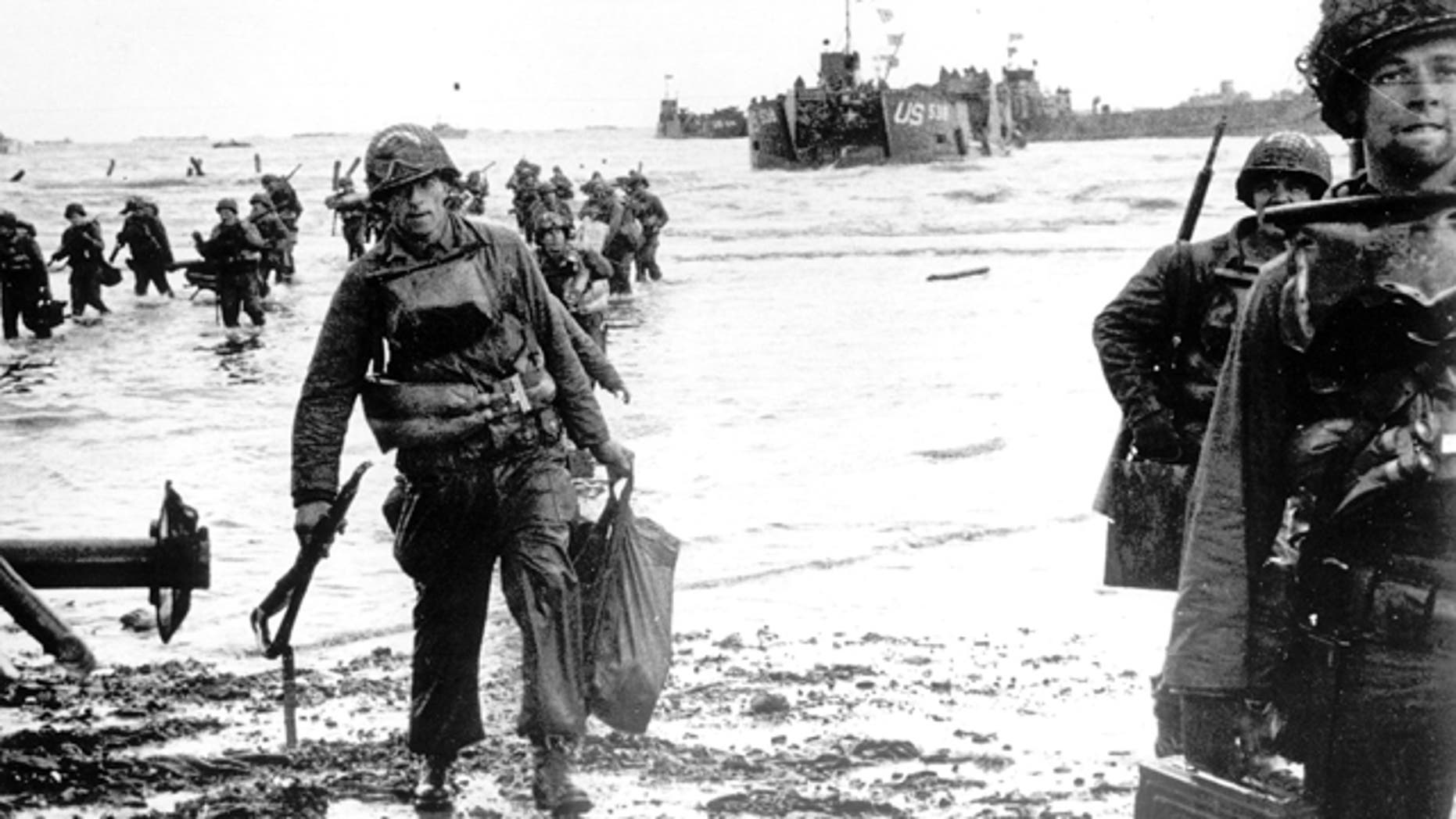 FILE: U.S. Army soldiers land on Omaha Beach during D-Day invasion, Normandy, France