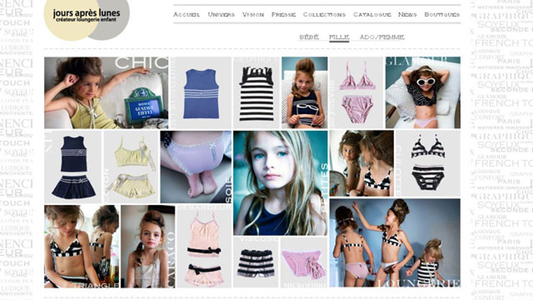 A screen grab from www.jours-apres-lunes.com shows children styled as adults in underwear.