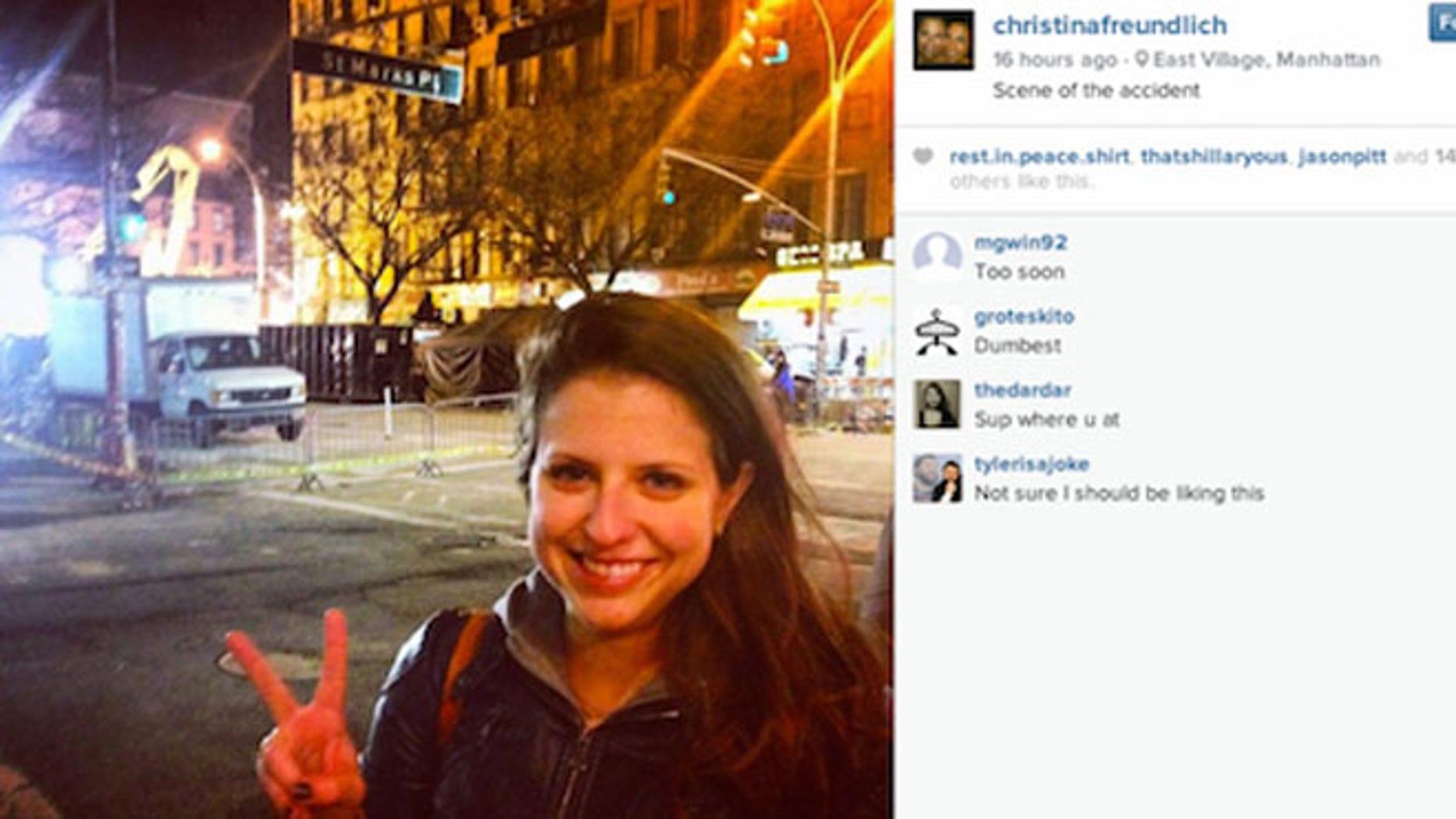 Christina Freundlich poses near East Village explosion site, via Instagram.