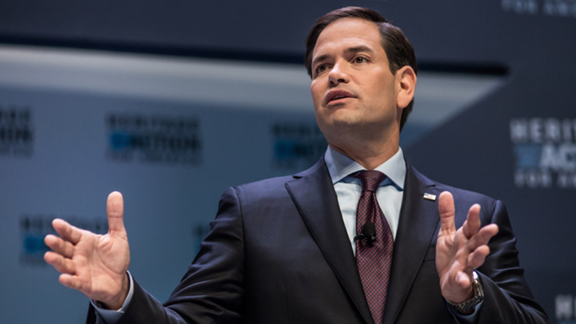 Sen. Marco Rubio speaks to voters at the Heritage Action Presidential Candidate Forum September 18, 2015 in Greenville, South Carolina.  (Photo by Sean Rayford/Getty Images)