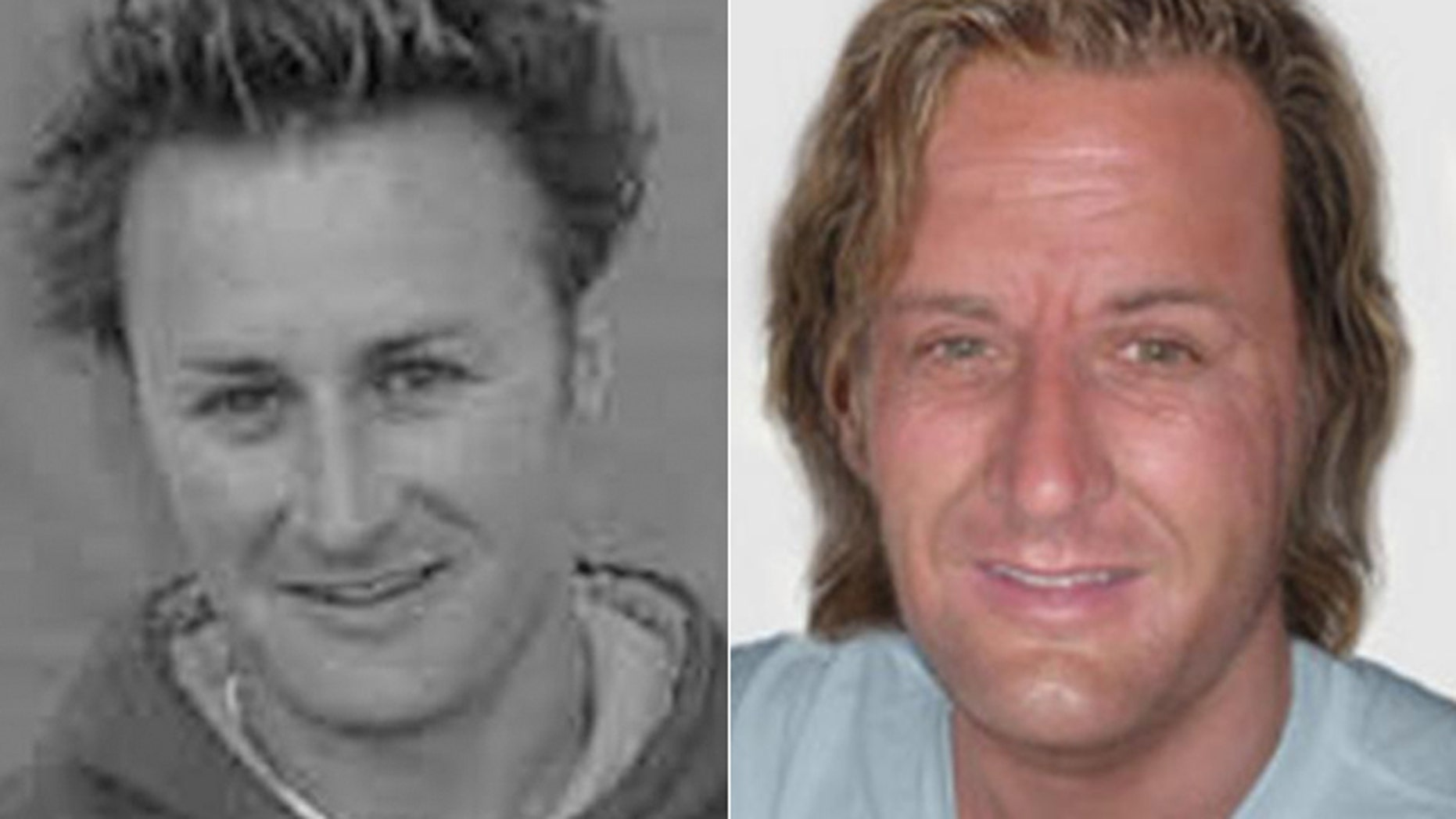 This combination photo shows Jason Brown, left, and an age-enhanced photo.