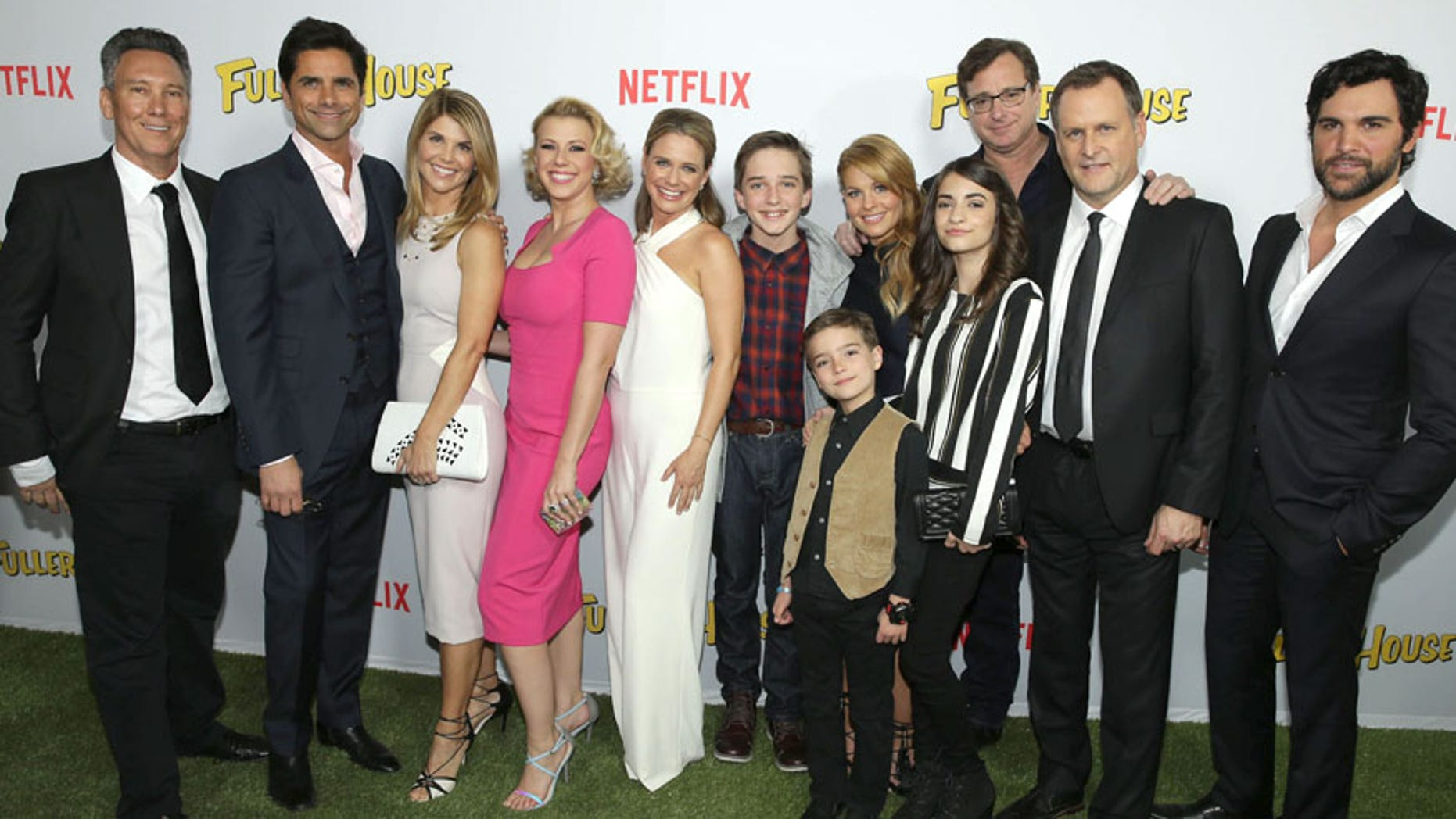 """Exec. Producer Jeff Franklin, John Stamos, Lori Loughlin, Jodie Sweetin, Andrea Barber, Michael Campion, Candace Cameron Bure, Elias Harger, Soni Bringas, Bob Saget, Dave Coulier and Juan Pablo Di Pace seen at Netflix Premiere of """"Fuller House"""" at The Grove on February 16, 2016, in Los Angeles, CA. (Photo by Eric Charbonneau/Invision for Netflix/AP Images)"""