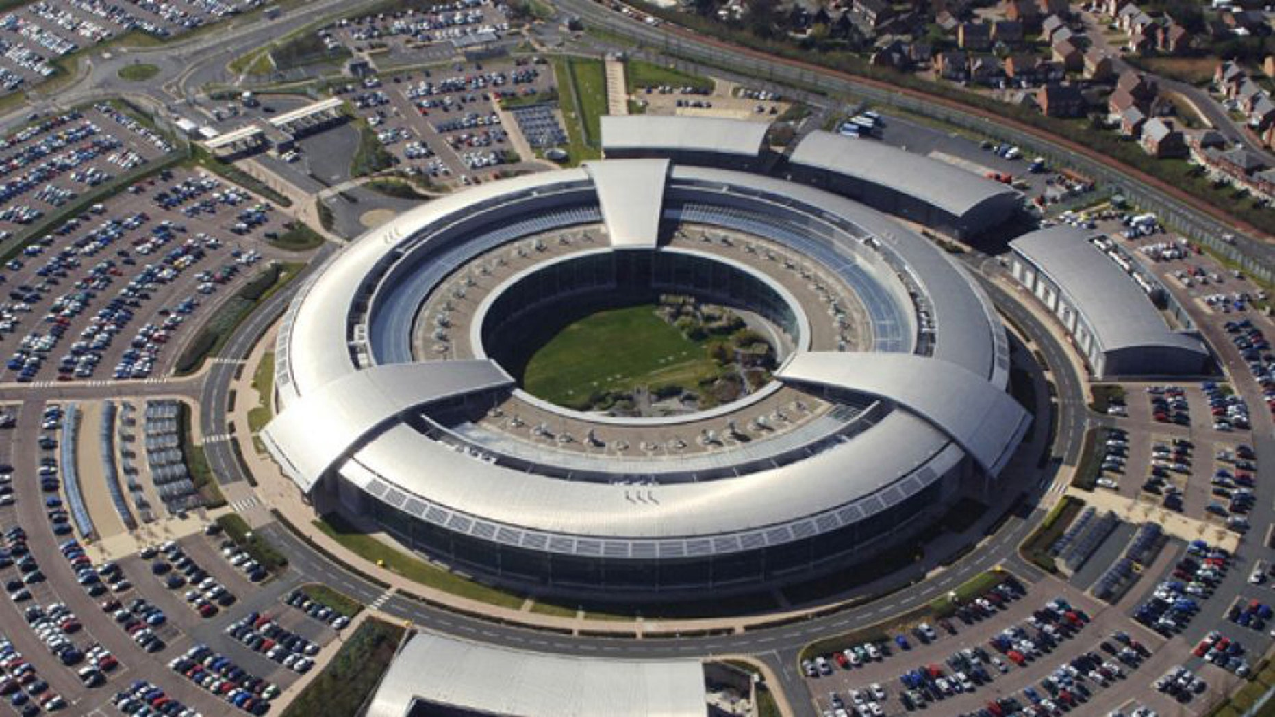 FILE: An aerial image of the Government Communications Headquarters (GCHQ) in Cheltenham, Gloucestershire.