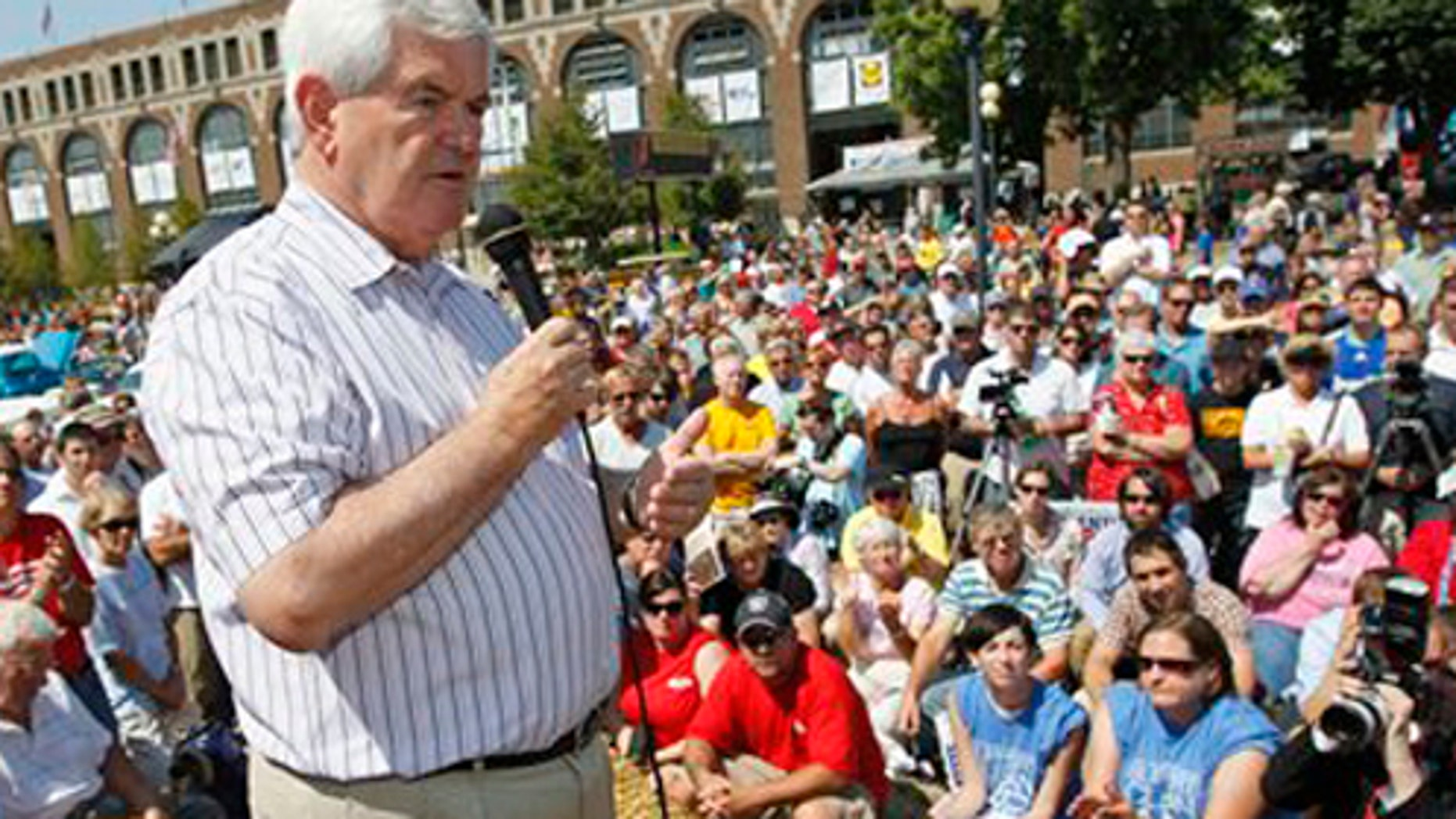 FILE - In this Aug. 12, 2011 file photo, Republican presidential candidate, former House Speaker Newt Gingrich campaigns at the Iowa State Fair in Des Moines, Iowa. Iowa's presidential caucuses are any Republican candidate's to win. Just two months before the GOP nomination voting begins, Iowa Republicans aren't surging toward former Massachusetts Gov. Mitt Romney even though he's essentially been running for president since losing here in 2008. And, this time, none of his opponents has emerged as the consensus candidate of conservatives _ and, thus, Romney's chief challenger _ the way Mike Huckabee did four years ago.  (AP Photo/Charles Dharapak, File)