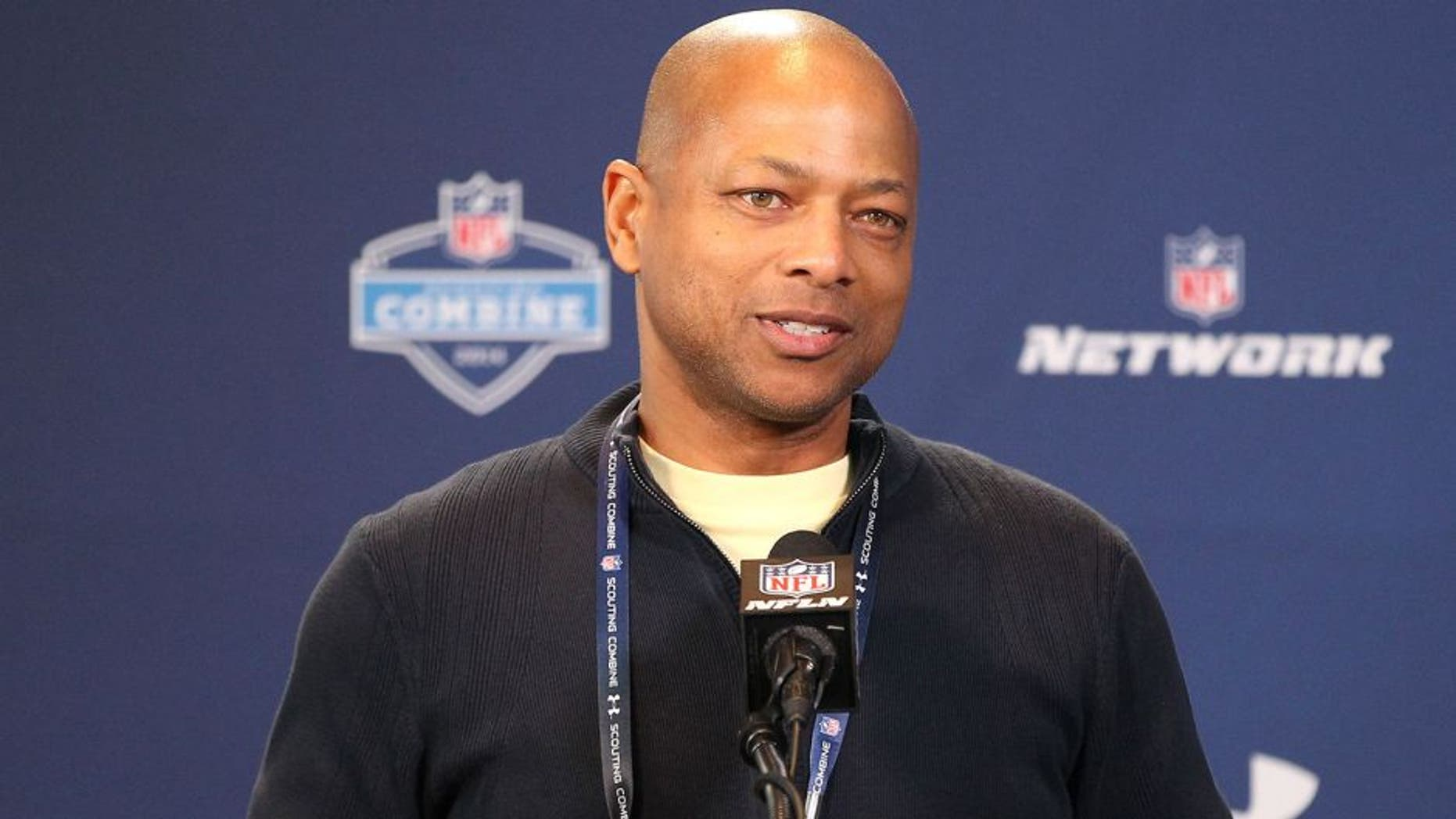 Feb 22, 2014; Indianapolis, IN, USA; New York Giants general manager Jerry Reese speaks at the NFL Combine at Lucas Oil Stadium. Mandatory Credit: Pat Lovell-USA TODAY Sports