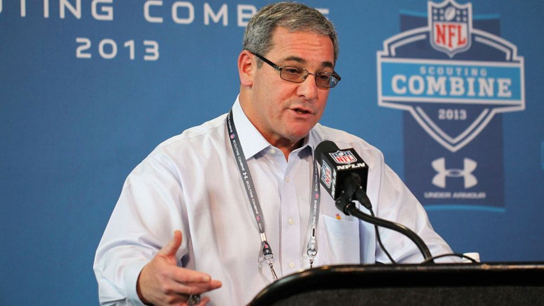 Feb 21, 2013; Indianapolis, IN, USA; Carolina Panthers general manager Dave Gettleman speaks at a press conference during the 2013 NFL Combine at Lucas Oil Stadium. Mandatory Credit: Brian Spurlock-USA TODAY Sports
