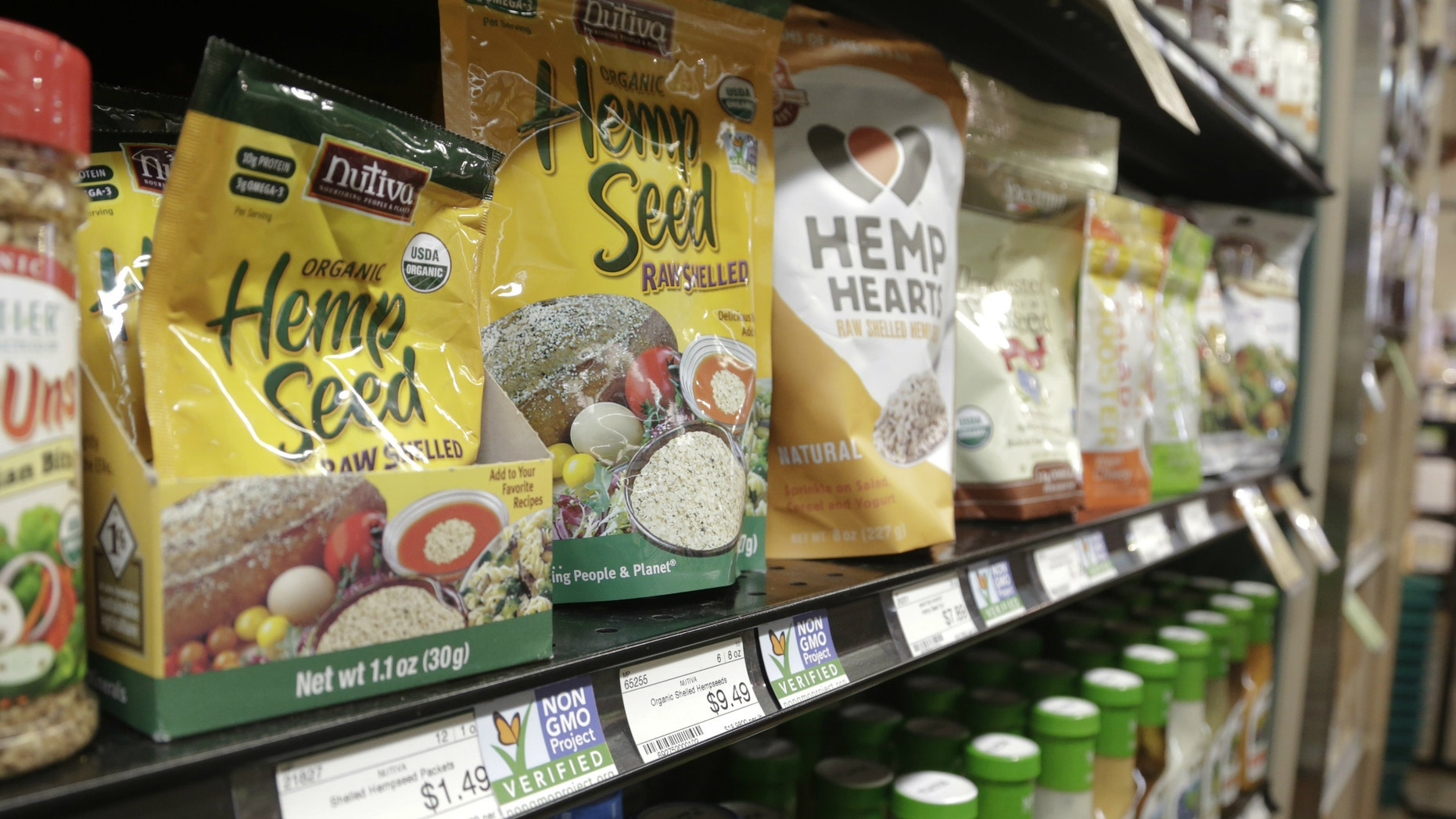 Labels point out products verified to not contain genetically modified organisms (GMO).