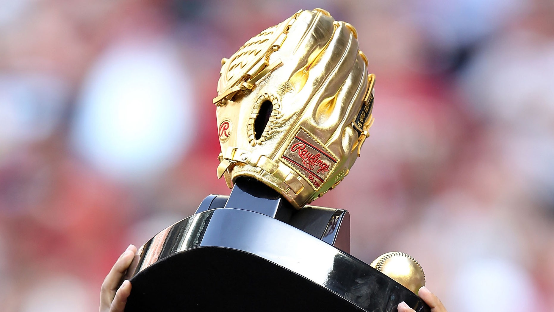 The Rawlings Gold Glove Award is given annually to the MLB players judged to have exhibited superior individual fielding performances.  (Photo by Christian Petersen/Getty Images)