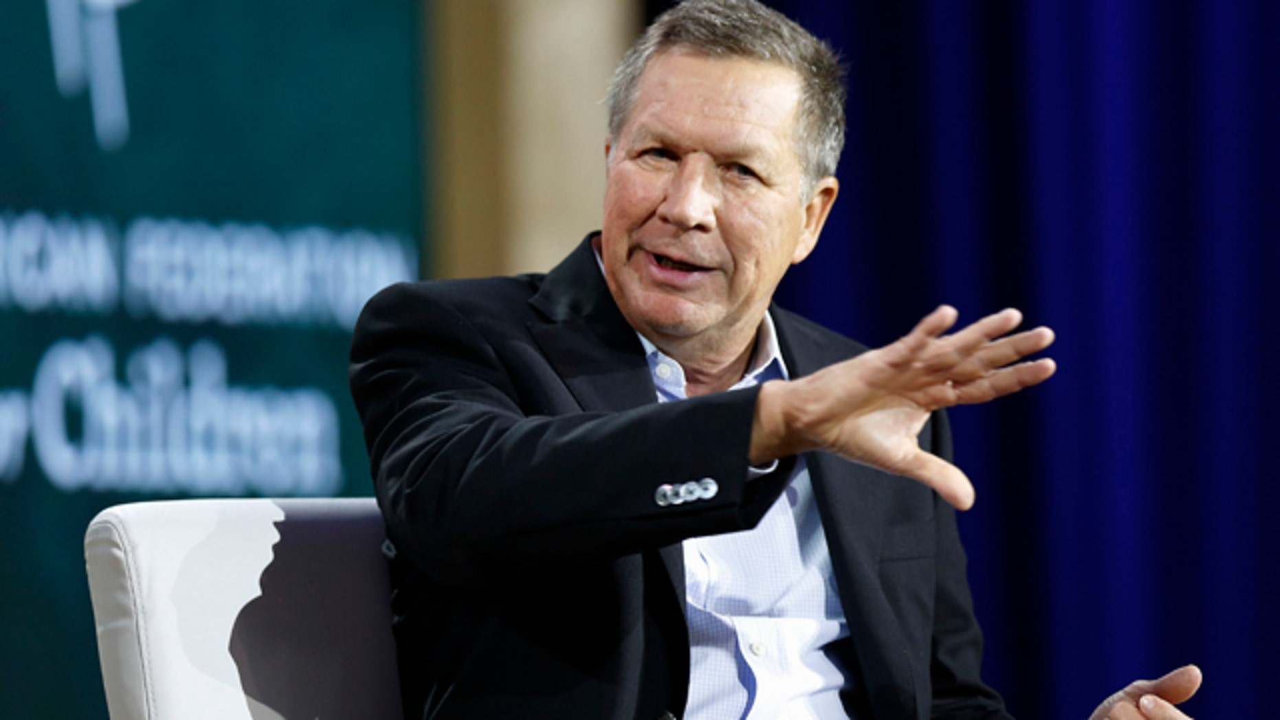Aug. 19, 2015: Republican presidential candidate and Ohio Gov. John Kasich speaks during an education summit in Londonderry, N.H. (AP Photo/Jim Cole)