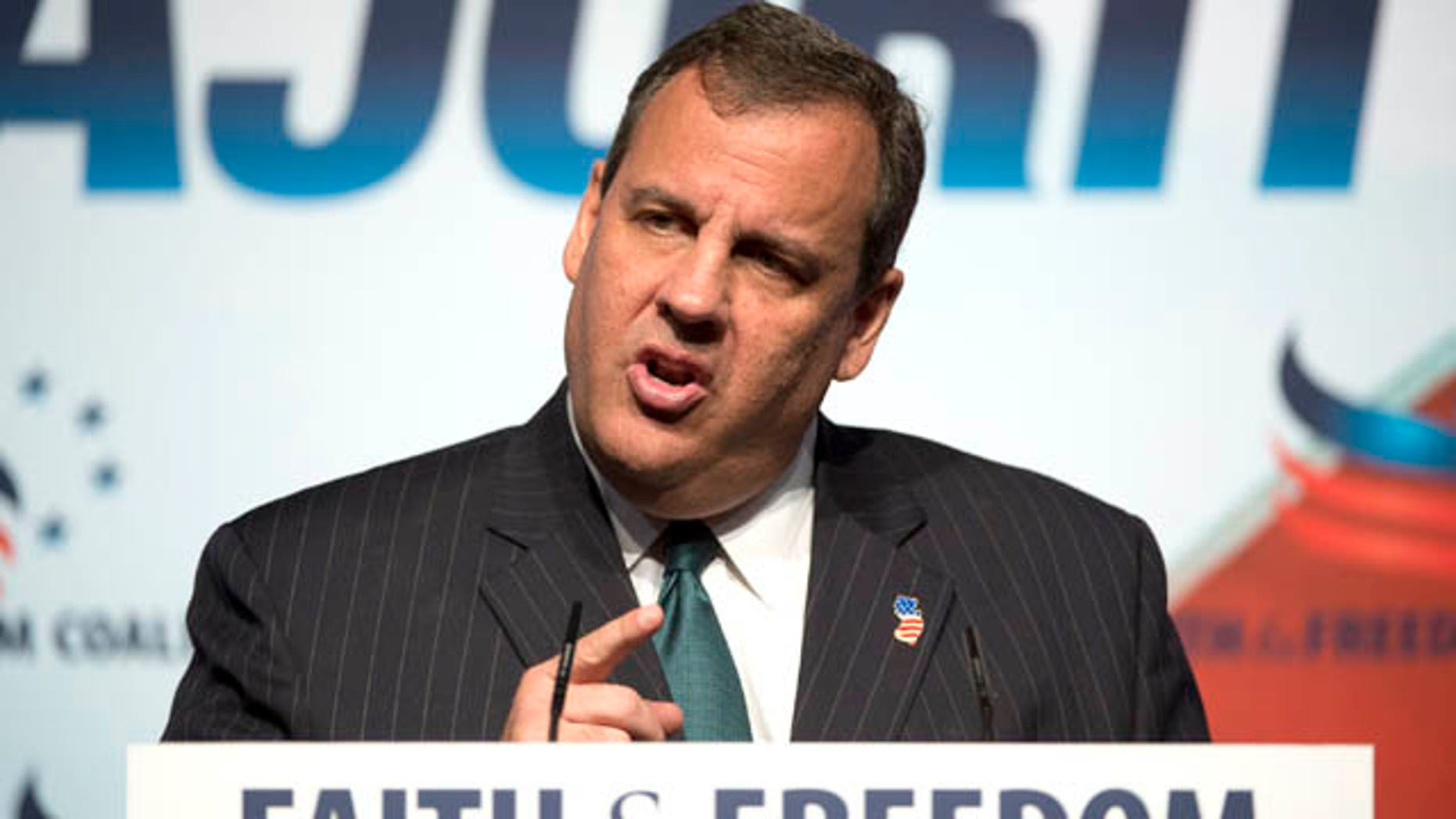 June 20, 2014: New Jersey Gov. Chris Christie speaks at the Faith and Freedom Coalition's Road to Majority event in Washington. (AP Photo/Molly Riley)