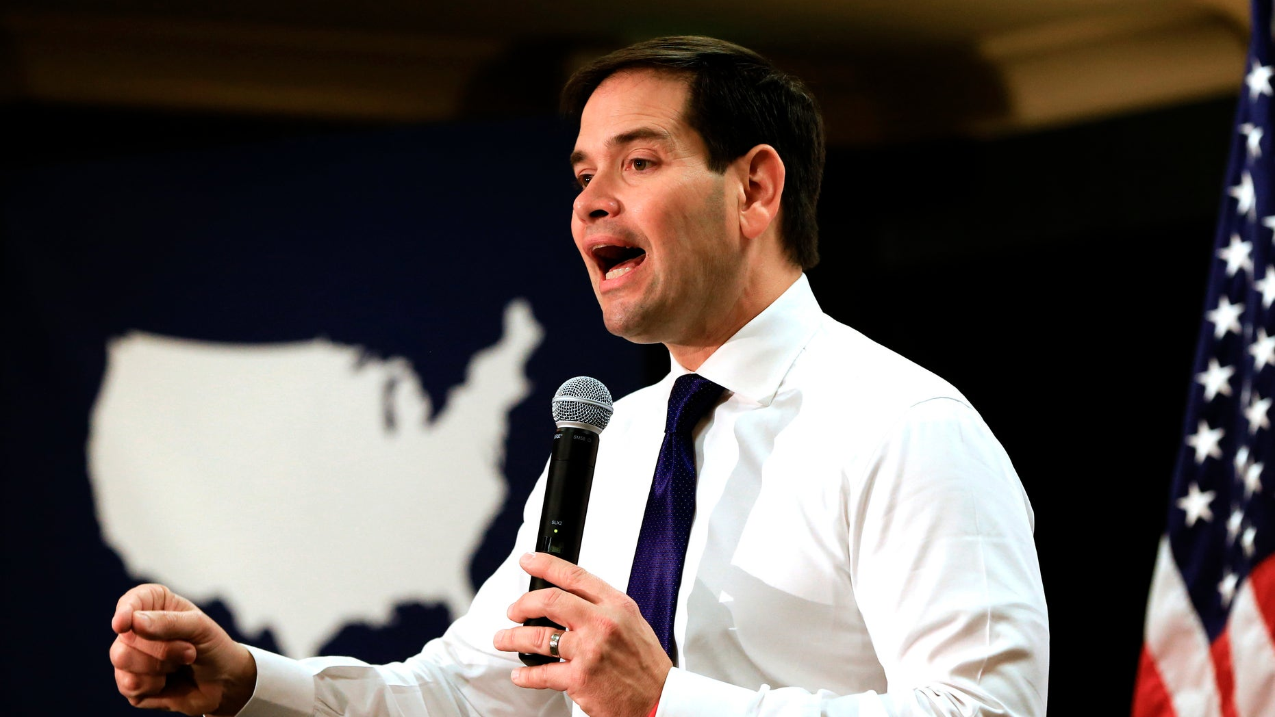 Republican presidential candidate, Sen. Marco Rubio, R-Fla. speaks at a campaign stop in Council Bluffs, Iowa, Saturday, Jan. 16, 2016. (AP Photo/Nati Harnik)