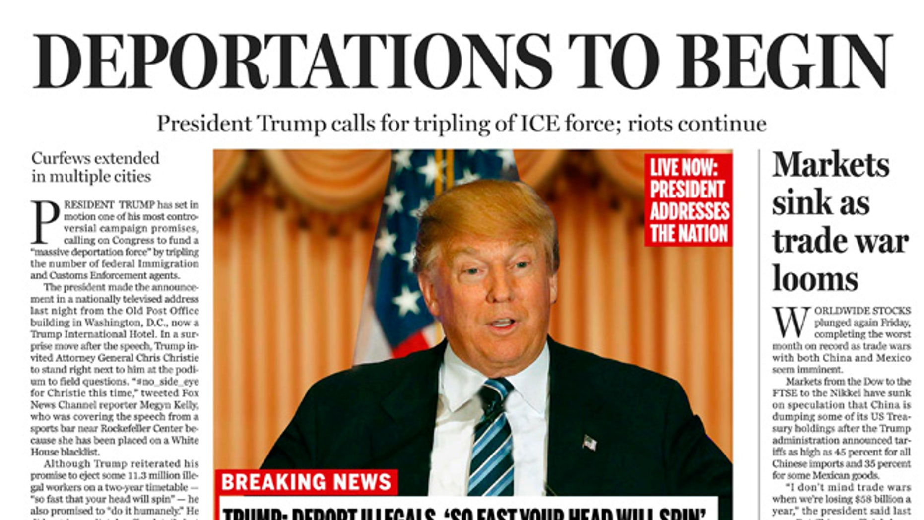 A portion of a satirical front page of The Boston Globe published on Saturday, April 9, 2016.
