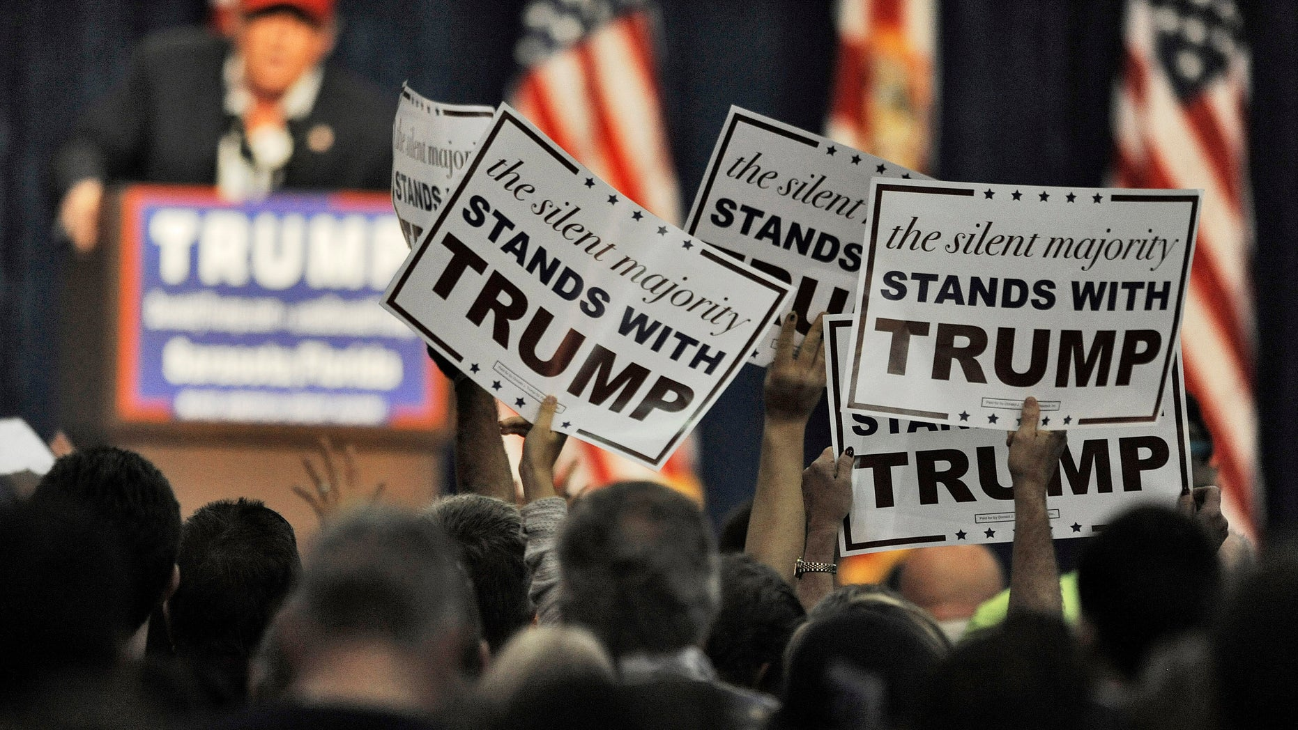 Presidential candidate Donald Trump at a campaign rally Saturday, Nov. 28, 2015 in Sarasota, Fla.