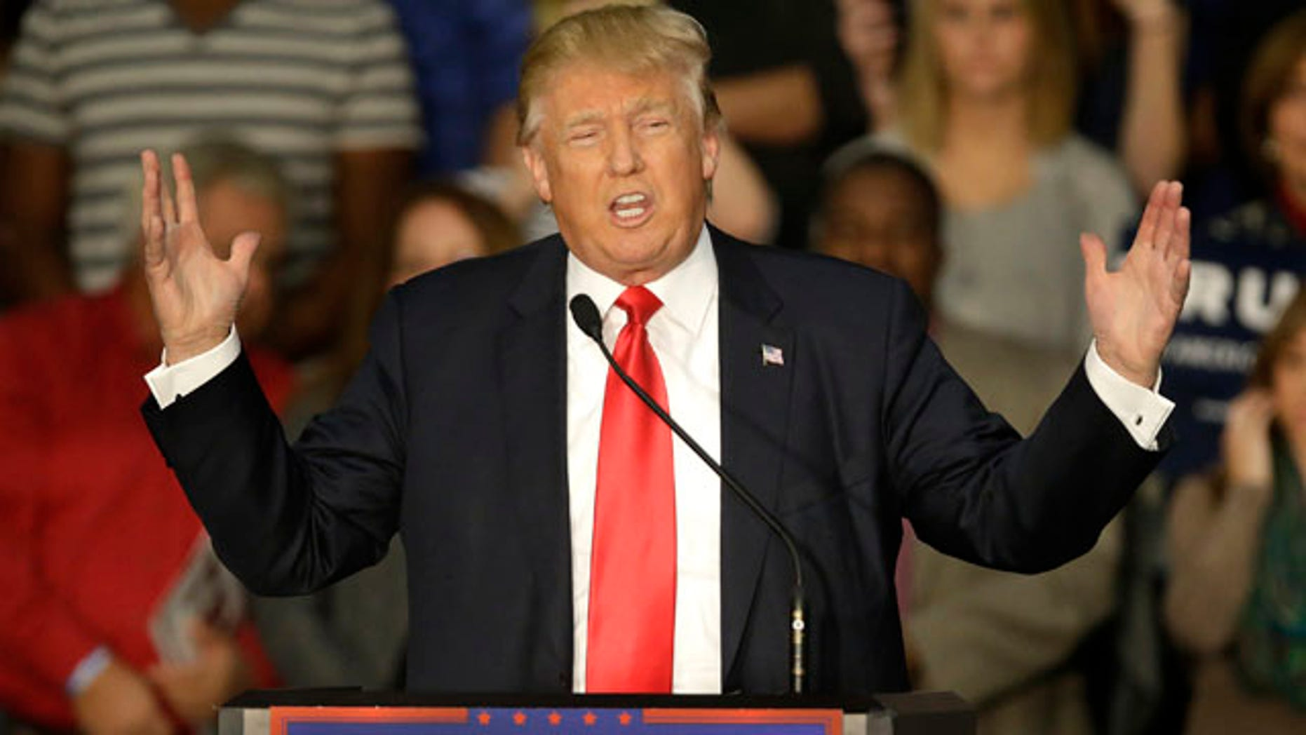 Nov. 9, 2015: Republican presidential candidate Donald Trump speaks to a crowd of supporters during a campaign rally in Springfield, Ill. (AP Photo/Seth Perlman)