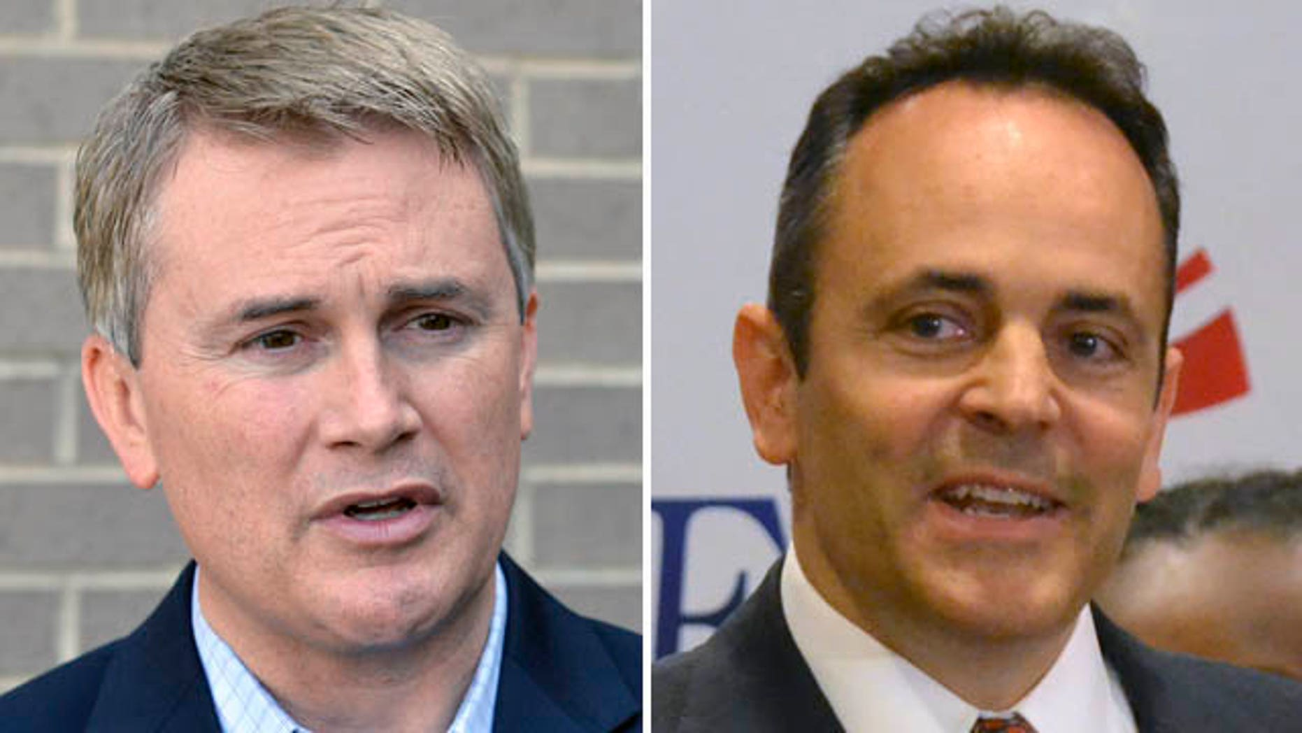 May 19, 2015: These photos show Kentucky Republican gubernatorial candidate James Comer, left, and Matt Bevin, who are locked in a tight race to decide who will represent the Republican party in November's election against Democratic nominee Jack Conway.(AP Photo/Timothy D. Easley)