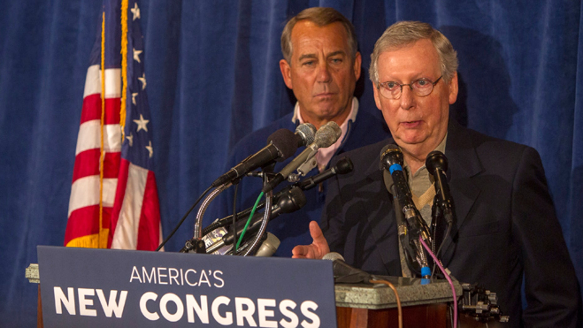 House Speaker John Boehner, left,  and Senate Majority Leader Mitch McConnell meet with the press at the GOP retreat at the Hershey Lodge in Hershey, Pa., Thursday, Jan. 15, 2015. (AP Photo/PennLive.com, Mark Pynes )
