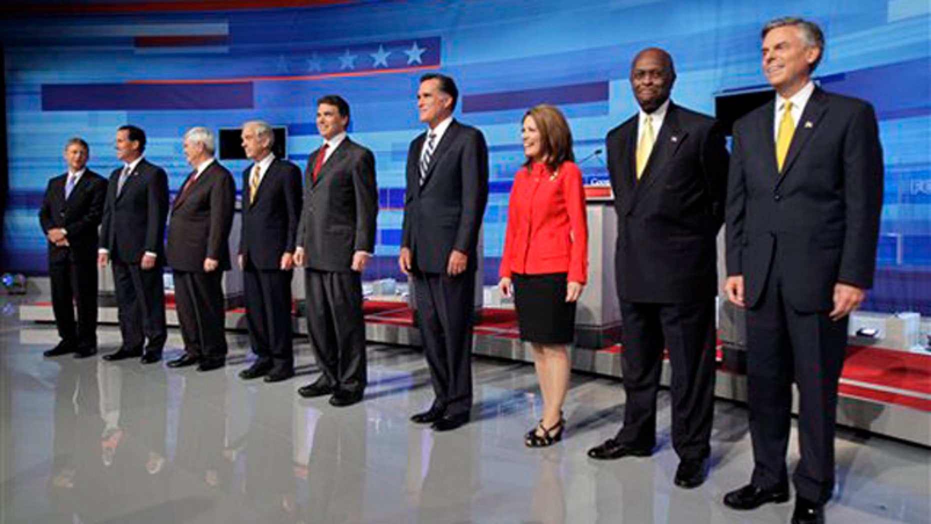 September 22: Republican candidates gather prior to a debate in Orlando, Fla.