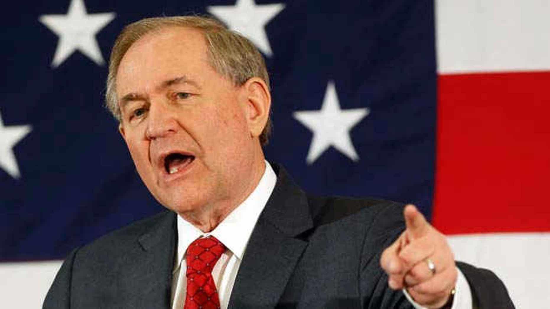 April 17, 2015: Ex-Virginia Gov. Jim Gilmore speaks at a Republican Leadership Summit in Nashua, N.H.