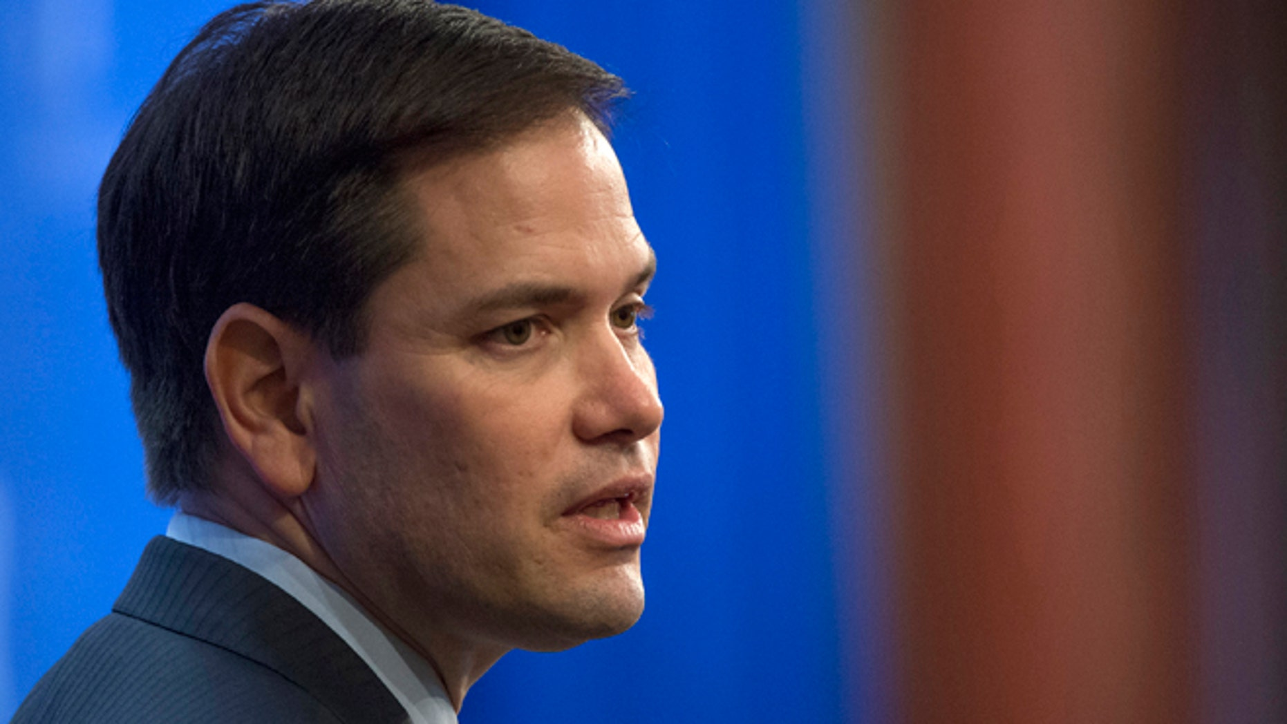 April 15, 2015: Republican presidential candidate Sen. Marco Rubio, R-Fla. speaks in Washington.