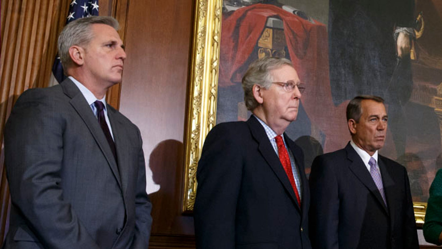 FILE: Feb. 13, 2015: From left House Majority Leader Kevin McCarthy, Senate Majority Leader Mitch McConnell and House Speaker John Boehner on Capitol Hill in Washington, D.C.
