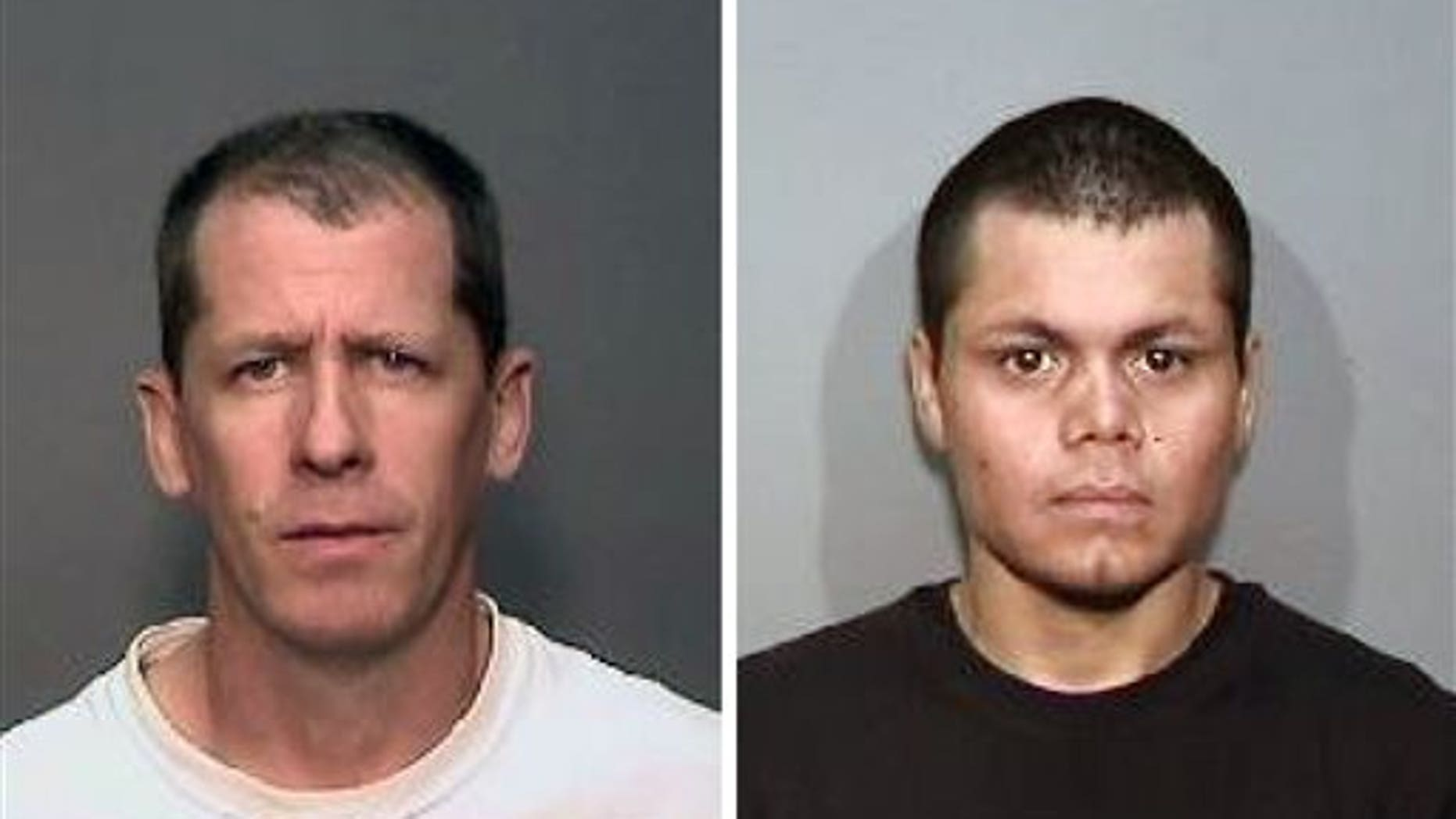 CORRECTS FIRST NAME TO STEVEN-This combination of undated photos from the Megan's Law website shows suspects, Steven Dean Gordon, 45, left, and Franc Cano, 27, who were arrested on Friday, April 11, 2014, on suspicion of killing four women in Orange County, Calif. Anaheim police said detectives in Santa Ana and Anaheim launched a joint investigation after the naked body of Jarrae Nykkole Estepp, 21, was found in the conveyor belt of a recycling plant last month. The probe led detectives to connect the men to her slaying, and the disappearance of three women who frequented a Santa Ana neighborhood known for drug dealing and prostitution. (AP Photo/Megan's Law)
