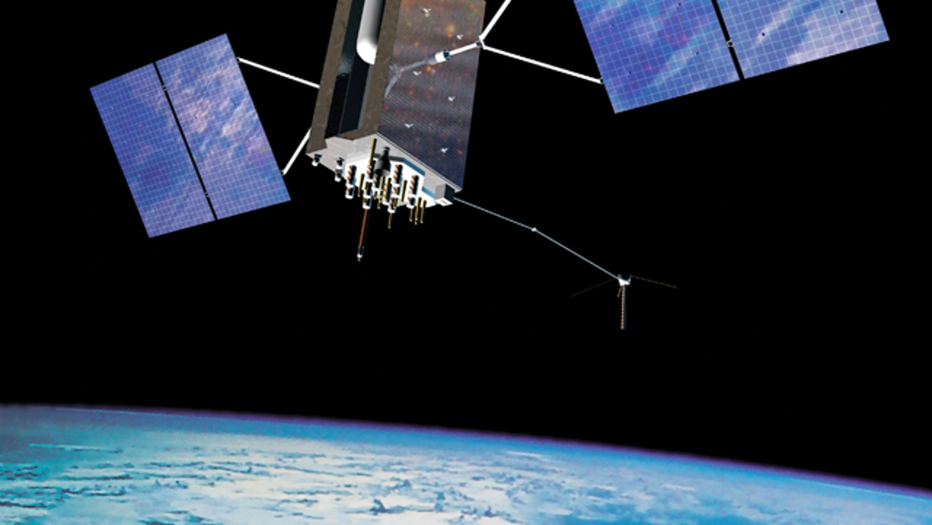 An illustration of a GPS satellite, silenting orbiting the Earth.