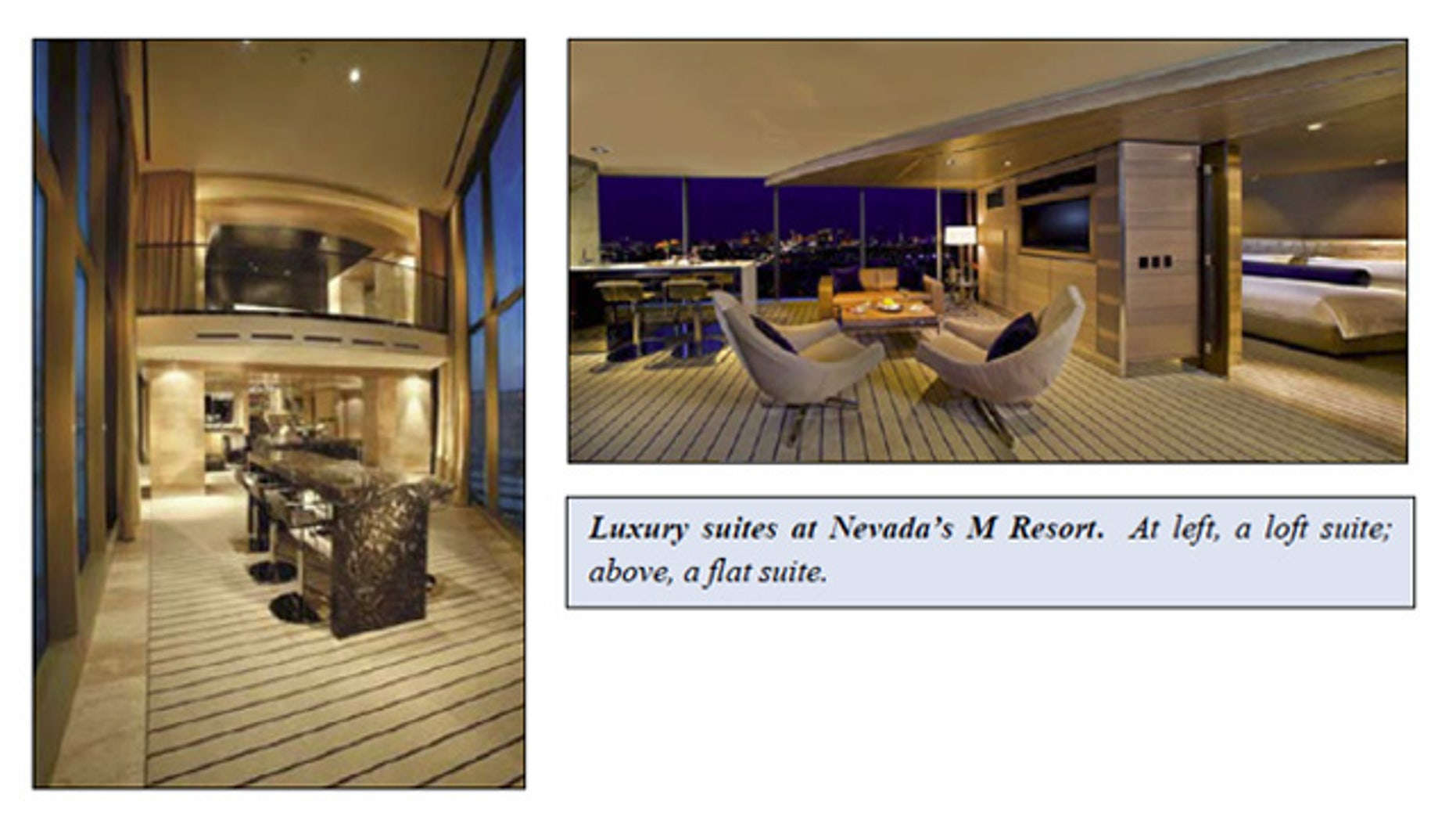 Shown here are suites in the M Resort near Las Vegas.