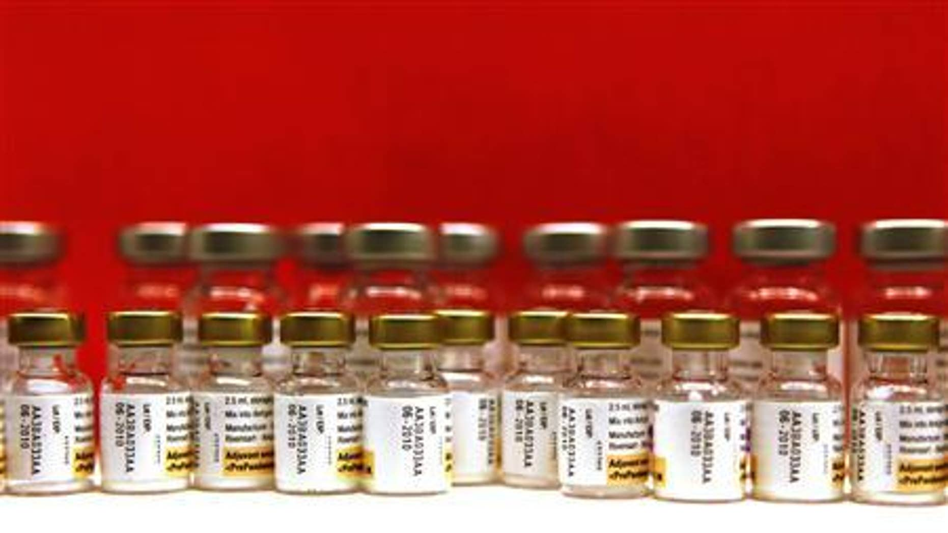 Bottles of adjuvants for use with the Pandemrix H1N1 flu vaccine are seen lined up during a vaccination programme in Schiedam in this November 23, 2009 file photo. REUTERS/Jerry Lampen/Files
