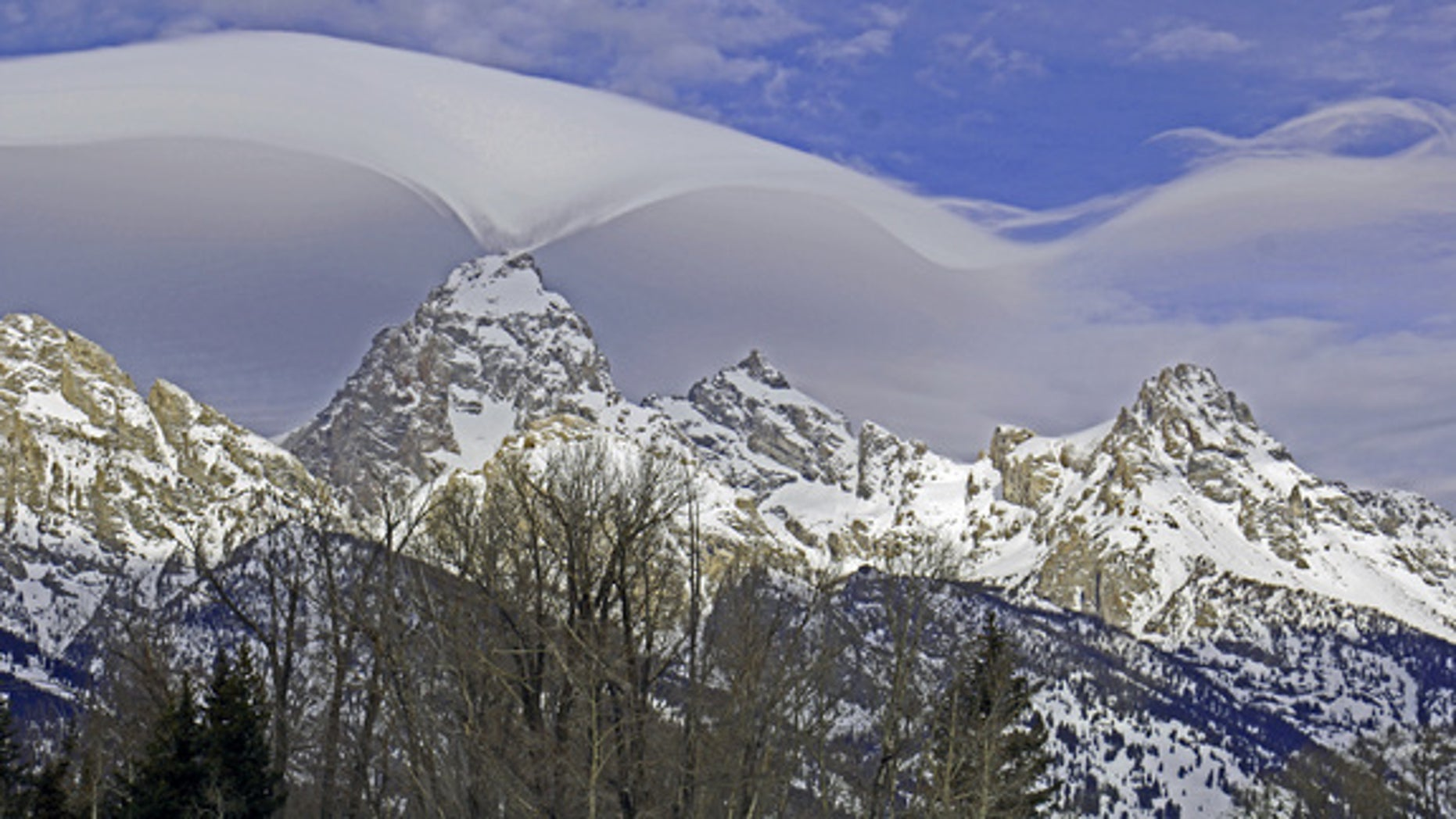 Jackie Skaggs snapped this stunning photo of a lenticular cloud embracing the summit of the Grand Teton Range from the park's headquarters in Moose, Wyoming, on Feb. 12, 2015.